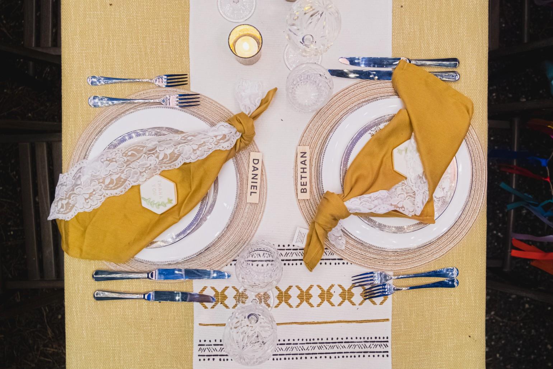 colourful micro wedding at patricks barn - boho wedding table styling - unique wedding napkins - wedding table styling - unique wedding stationery