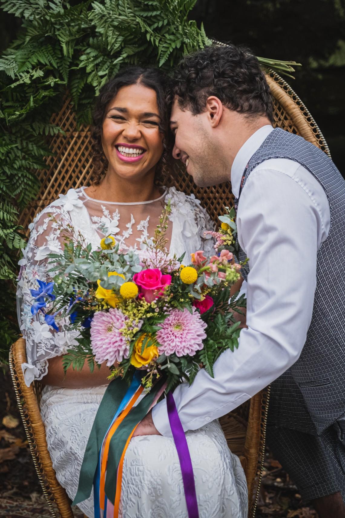 colourful micro wedding at patricks barn - colourful wedding bouquet - boho wedding - fun wedding photos