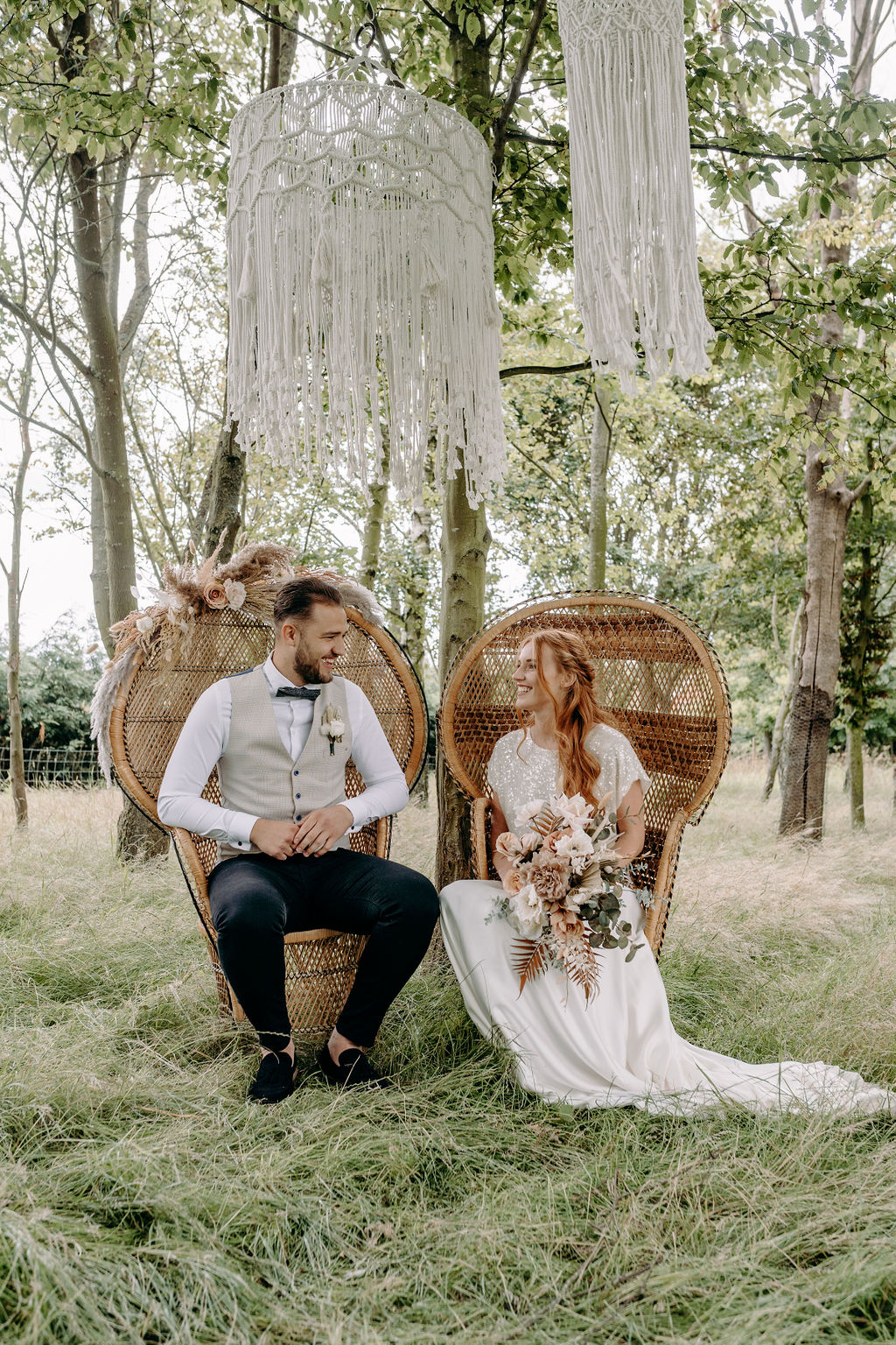 sustainable boho wedding - bohemian wedding - boho micro wedding - vintage wedding props - wicker wedding chairs - unconventional wedding