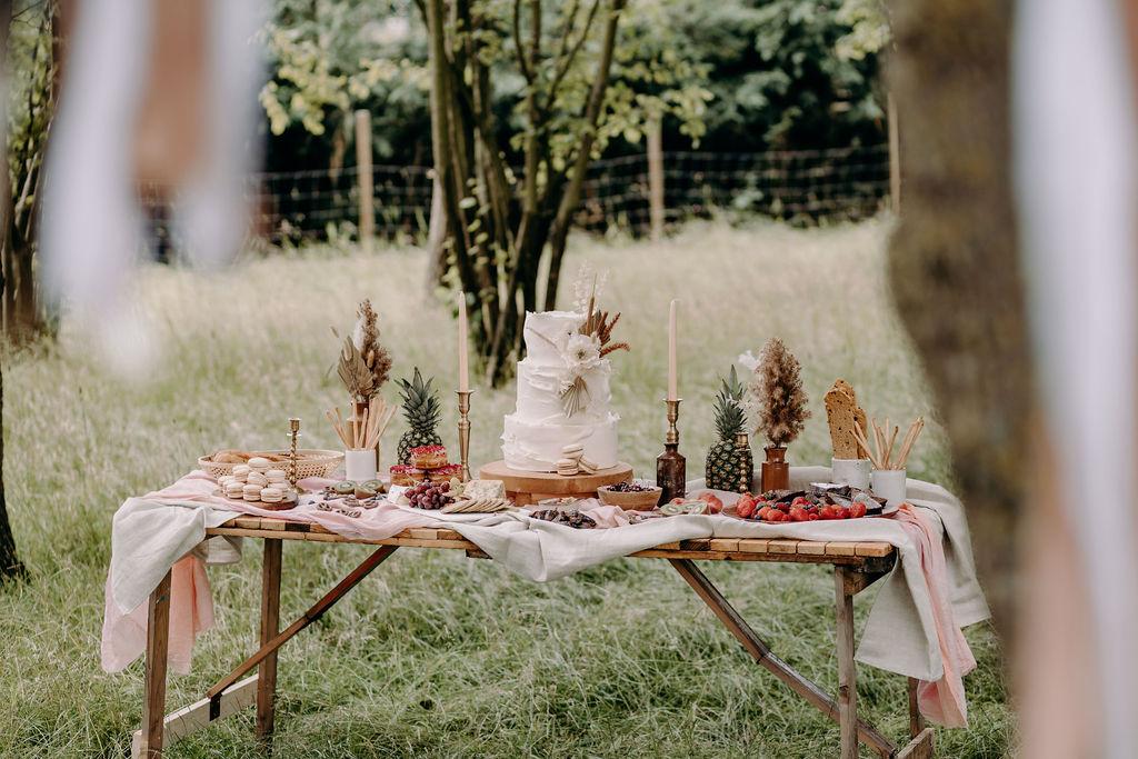 sustainable boho wedding - wedding grazing table - boho wedding cake - wedding picnic