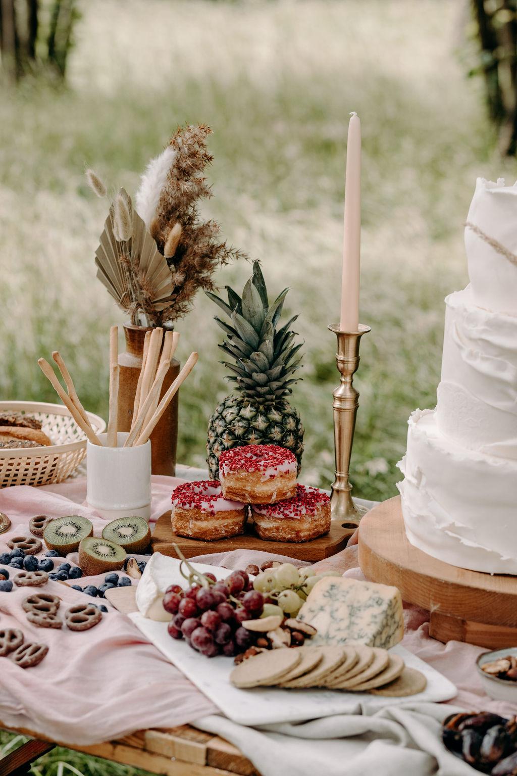boho wedding ideas - bohemian micro wedding - wedding grazing table - wedding desert table