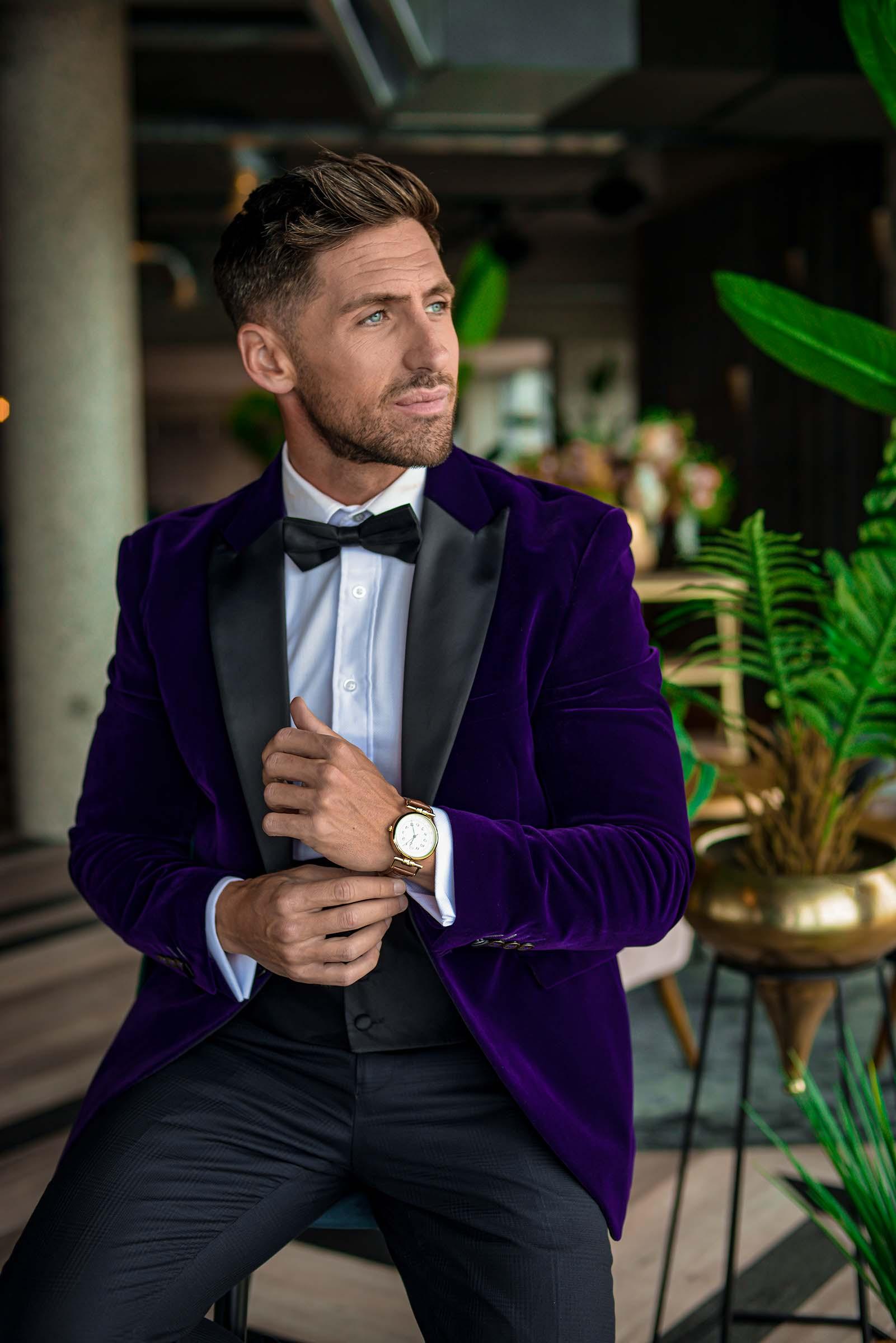 alternative luxe wedding - slytherin wedding - gothic wedding - alternative wedding - purple velvet blazer - velvet groomswear - alternative grooms suit