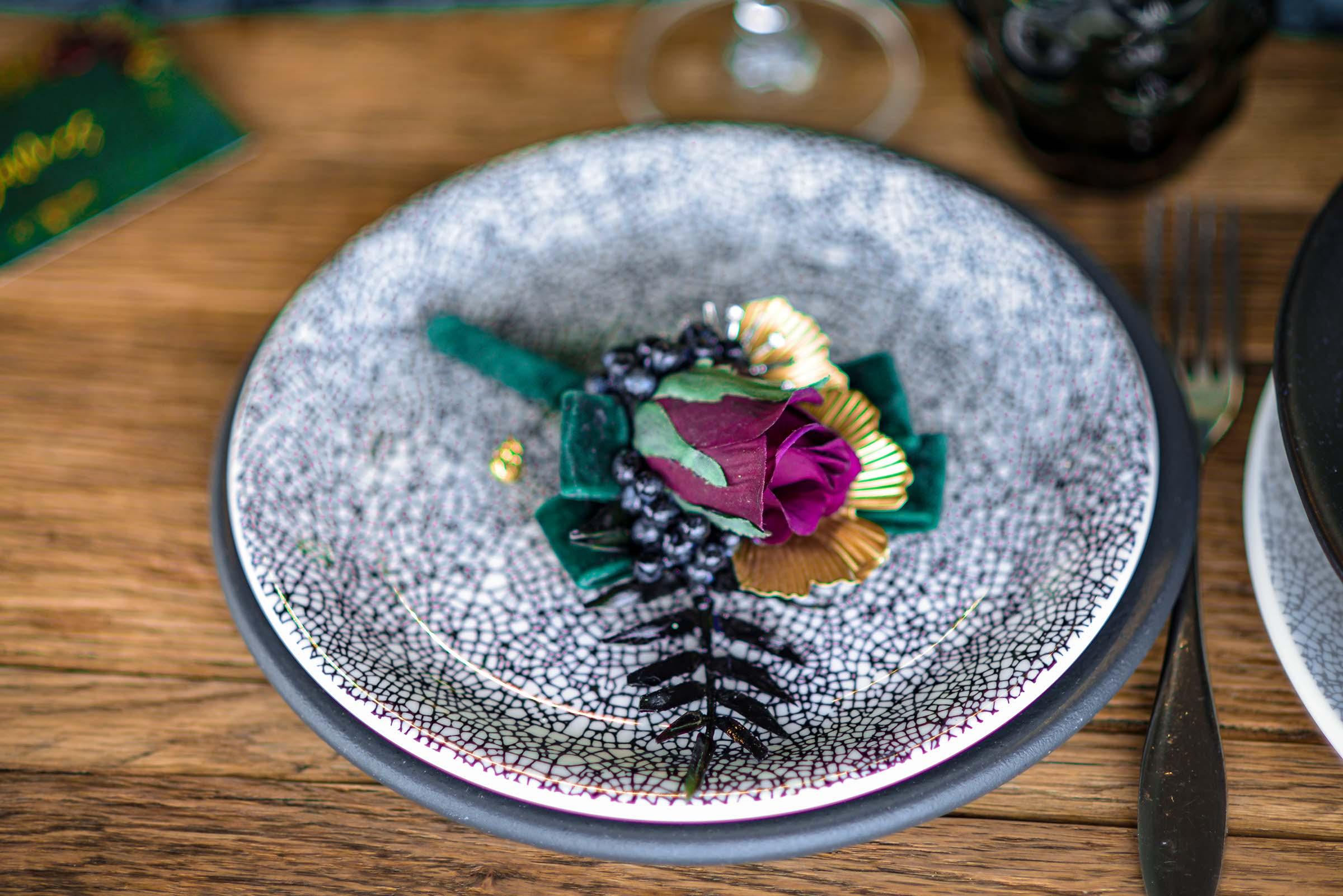 alternative luxe wedding - slytherin wedding - gothic wedding - alternative wedding - unique wedding buttonhole