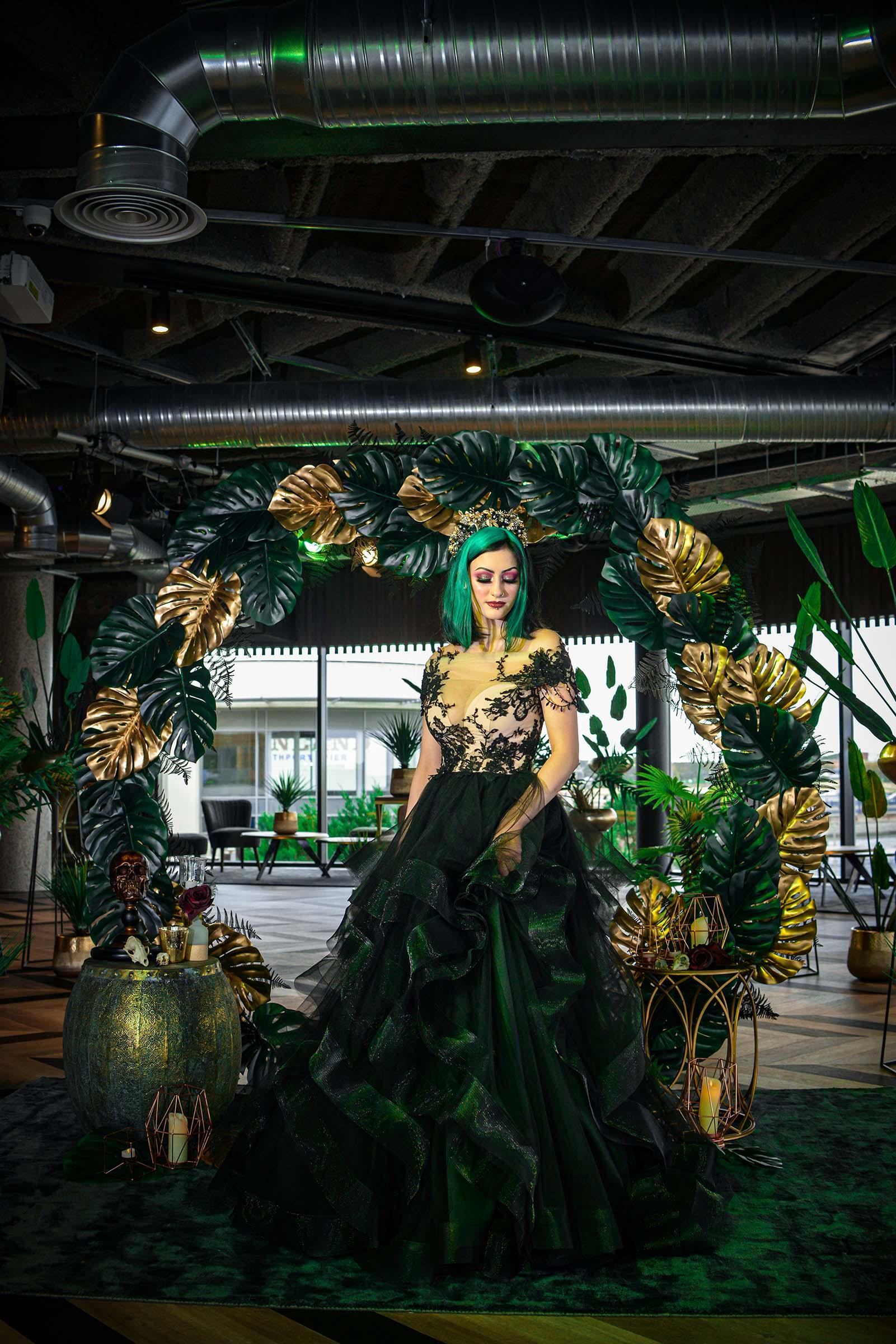 alternative luxe wedding - slytherin wedding - gothic wedding - alternative wedding - black wedding dress - alternative bridal wear - green and gold wedding