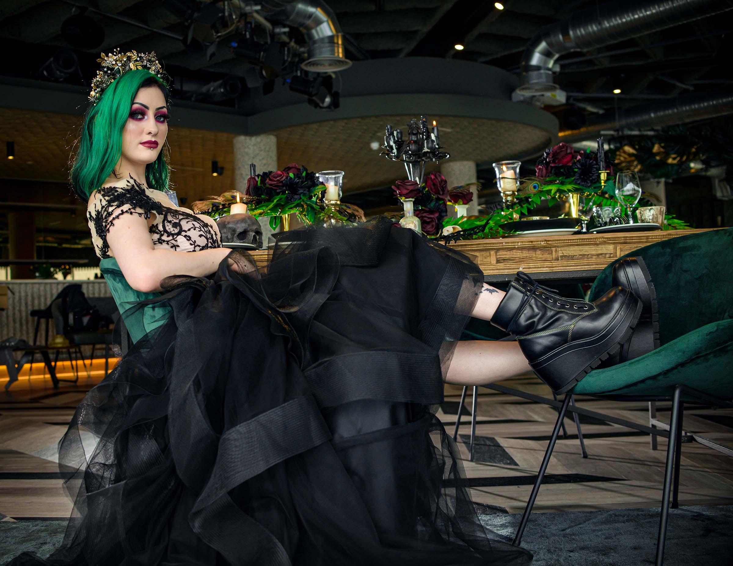 alternative luxe wedding - slytherin wedding - gothic wedding - alternative wedding - black wedding dress - black bridal wear - gothic bride