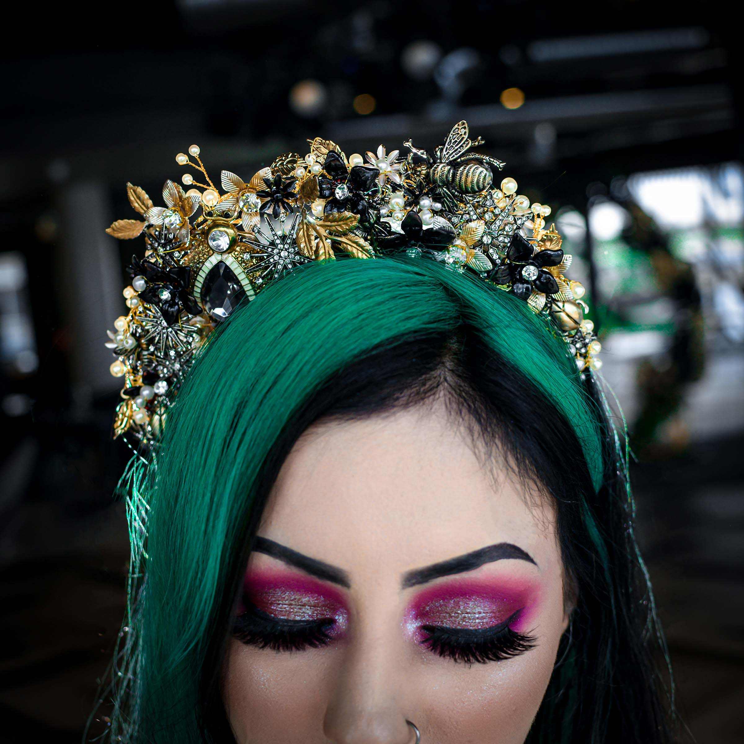 alternative luxe wedding - slytherin wedding - gothic wedding - alternative wedding -bridal headpiece - bespoke bridal accessories