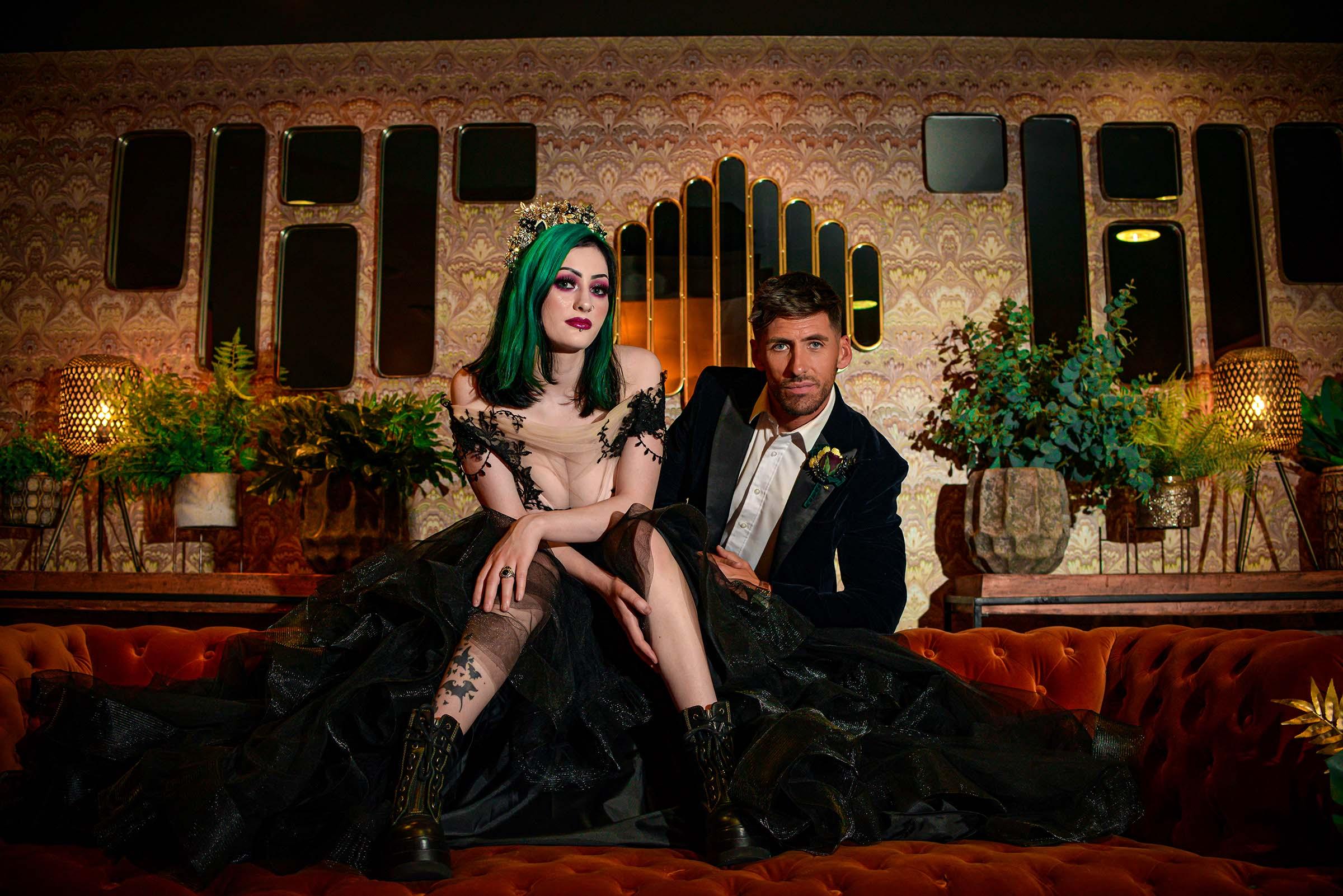alternative luxe wedding - slytherin wedding - gothic wedding - alternative wedding - alternative wedding venue - edgy wedding styling