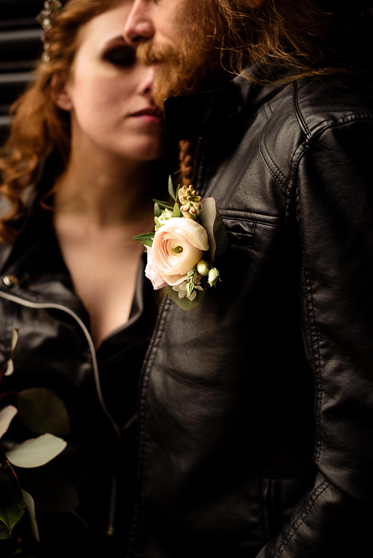 gothic city wedding - pink floral wedding buttonhole - rock wedding - unconventional wedding