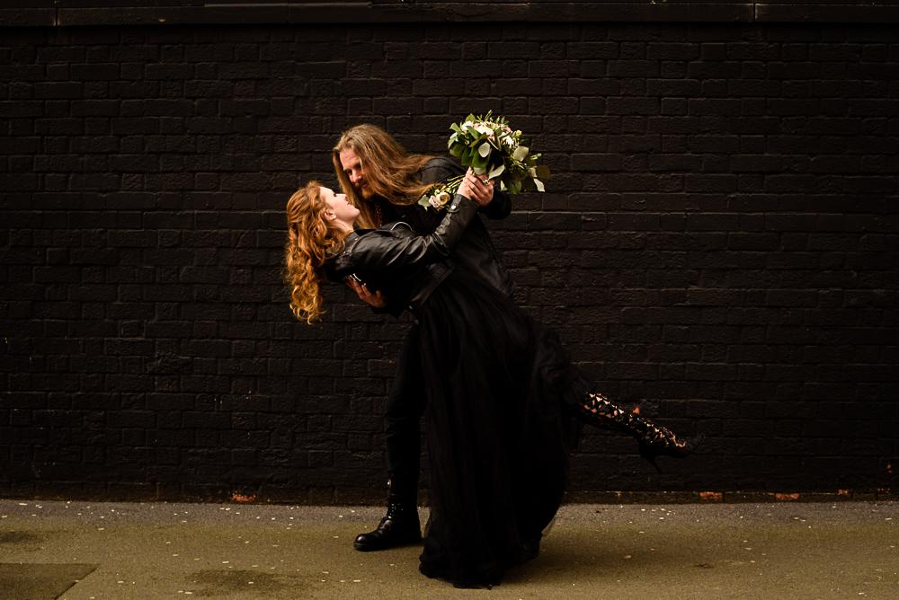 gothic city wedding - alternative wedding - gothic micro wedding - black wedding dress - alternative bridal wear - rock wedding