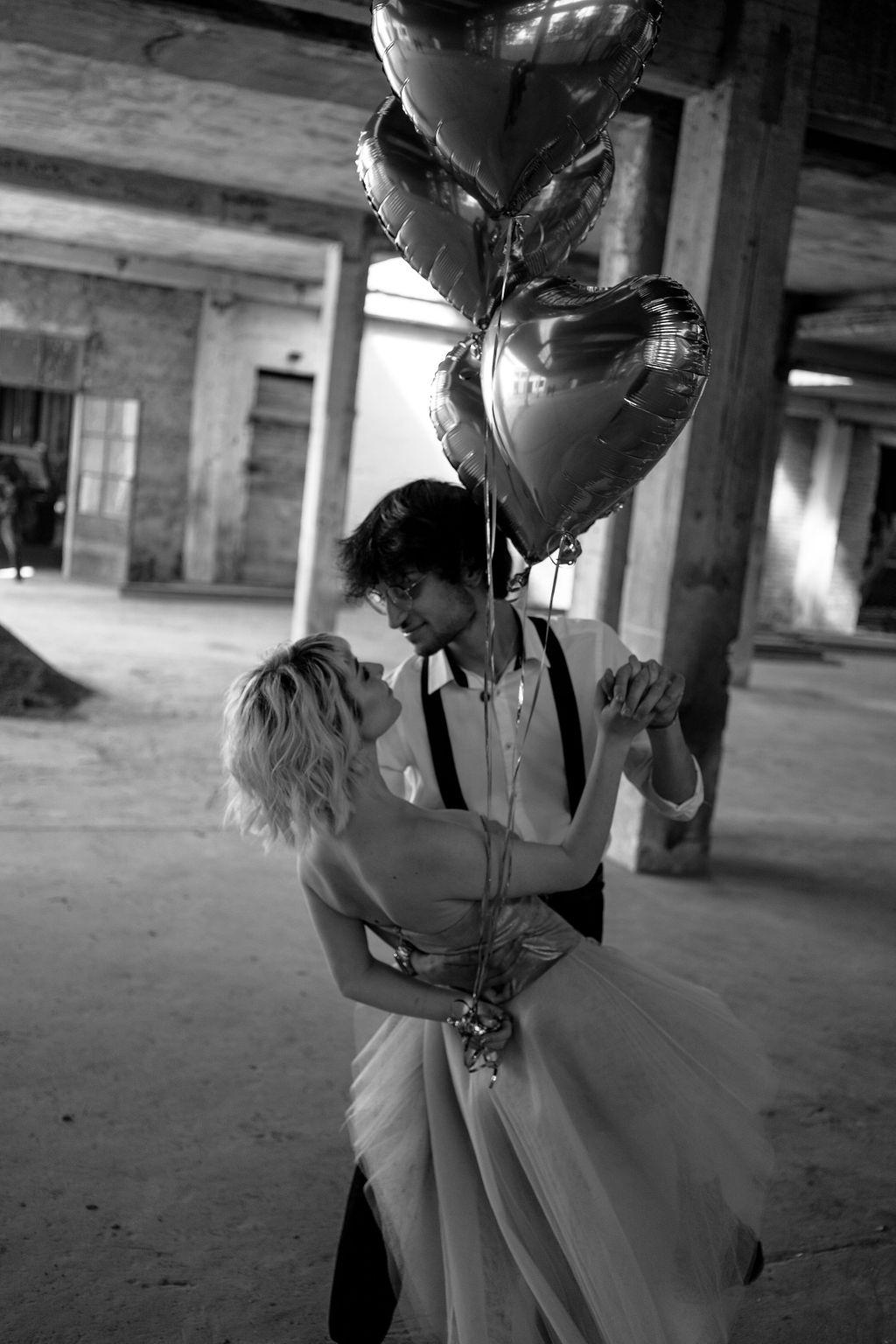 heart shaped wedding balloons - creative wedding photography - modern industrial wedding - alternative wedding - unconventional wedding - edgy wedding
