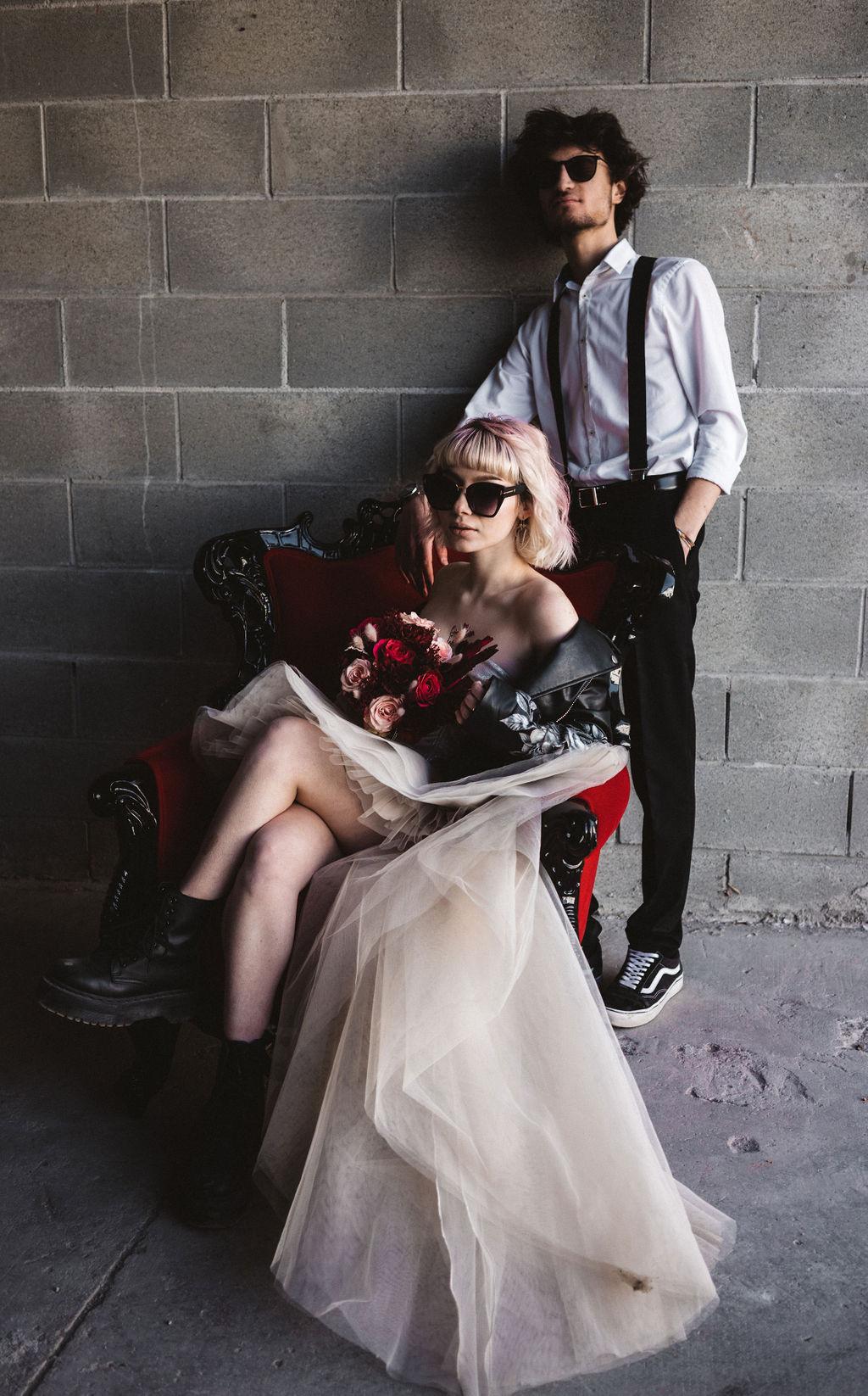 modern industrial wedding - alternative wedding - unconventional wedding - edgy wedding - cool wedding