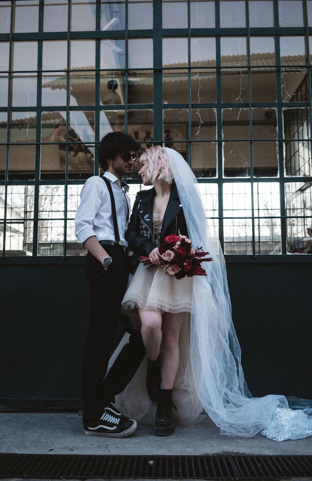 modern industrial wedding - alternative wedding - unconventional wedding - edgy wedding - cool wedding photoshoot - alternative bridal wear