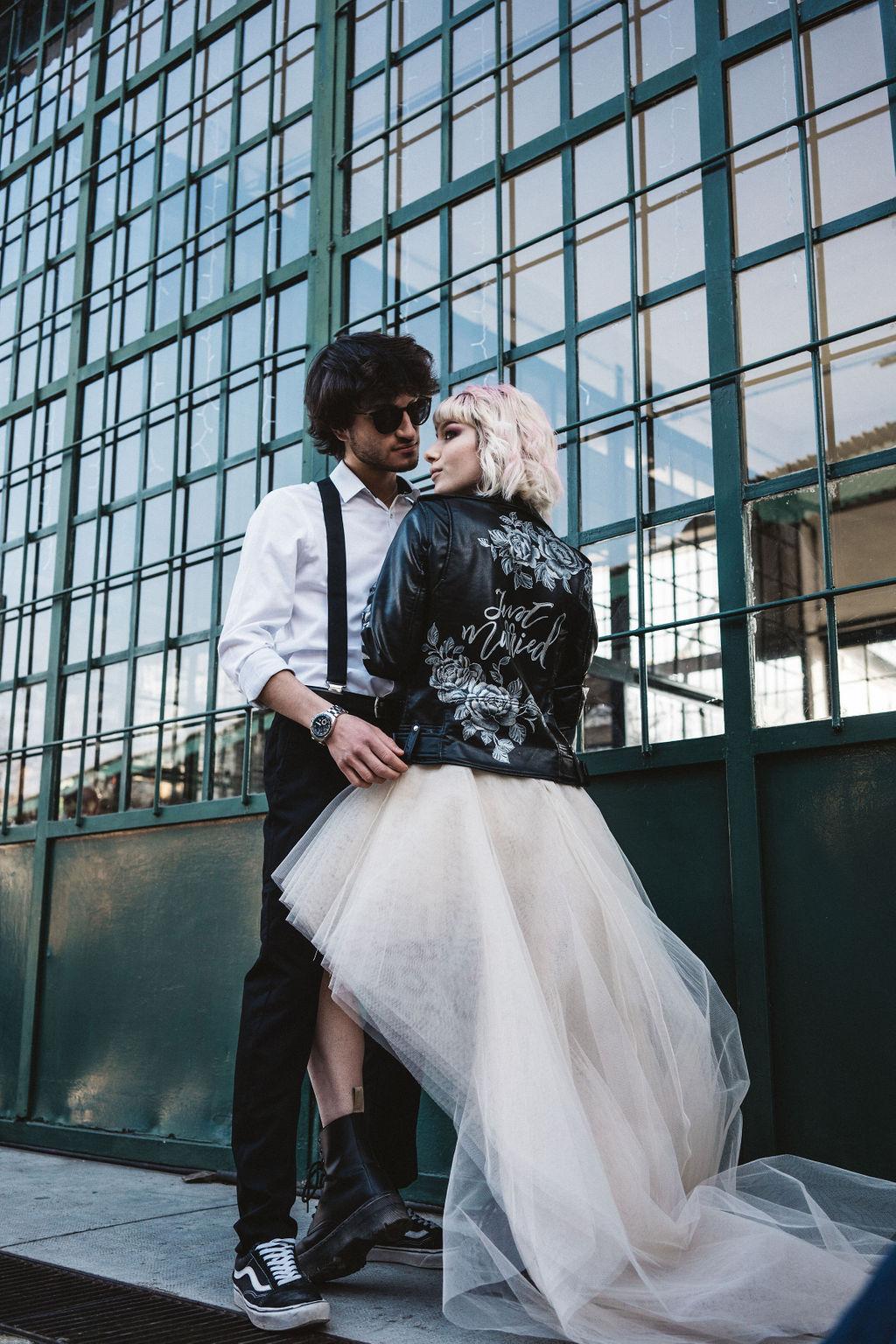 hand painted leather jacket - high low wedding dress - modern industrial wedding - alternative wedding - unconventional wedding - edgy wedding - rock and roll wedding