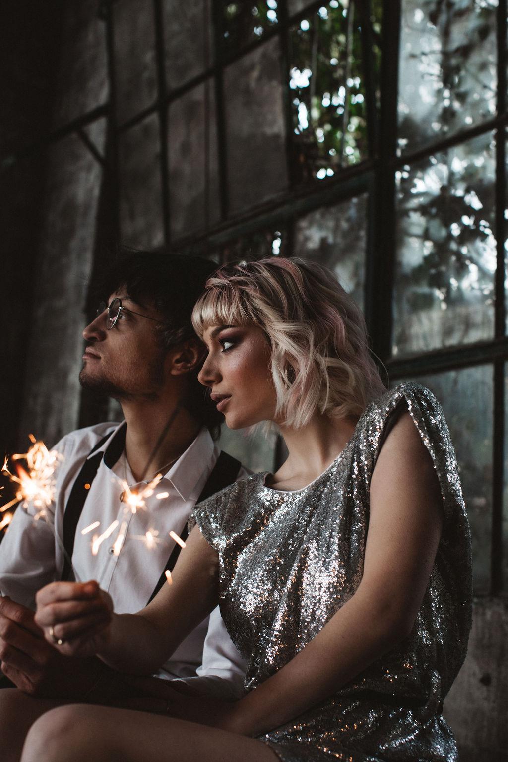 modern industrial wedding - alternative wedding - unconventional wedding - edgy wedding - bride and groom with sparklers - creative wedding photography