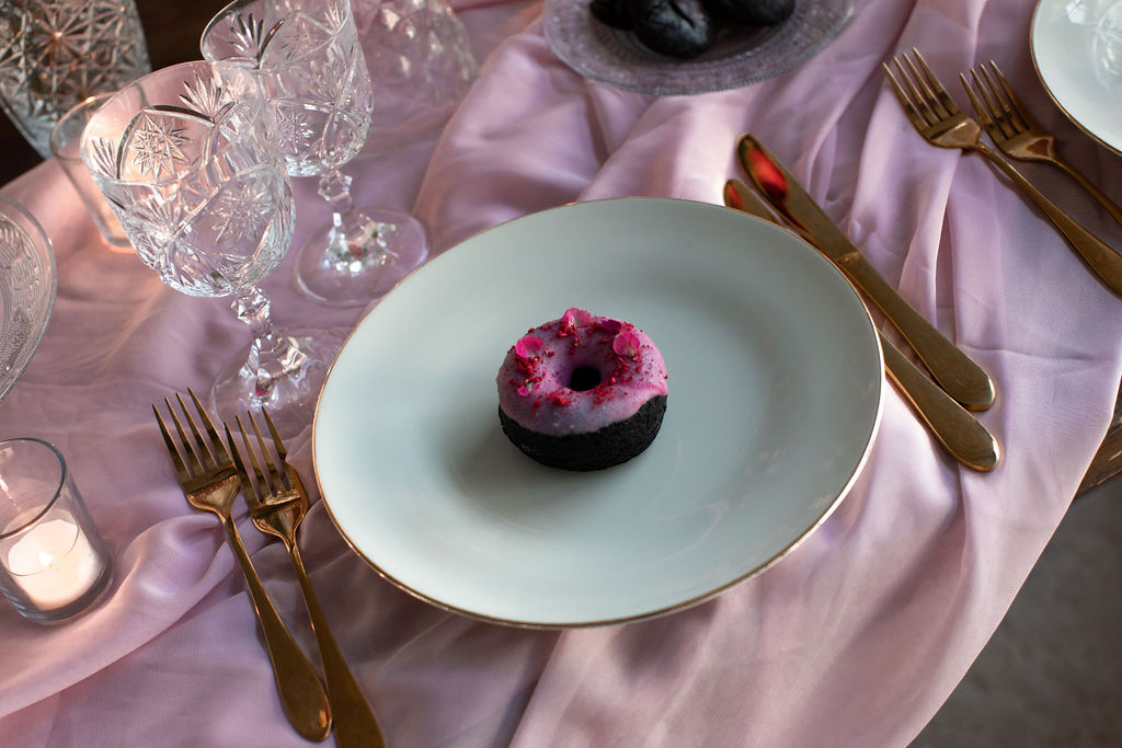 modern industrial wedding - alternative wedding - unconventional wedding - edgy wedding - gold wedding cutlery - wedding doughnuts