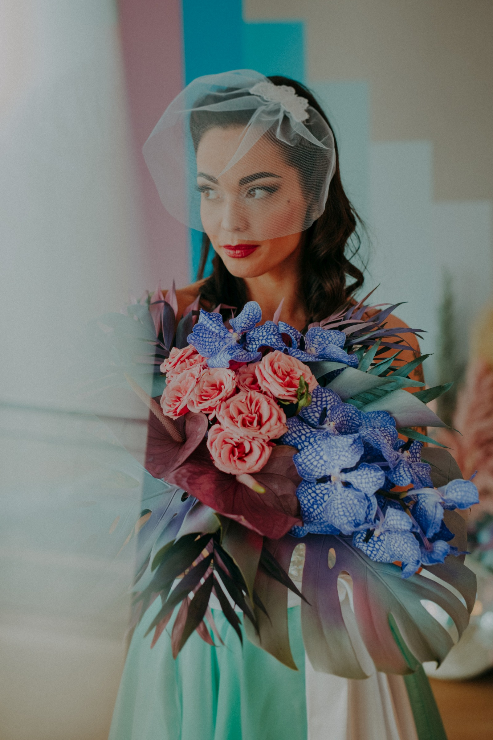 colourful pastel wedding - unconventional wedding - alternative wedding - colourful wedding dress - unique wedding dress - alternative wedding dress - unique retro wedding dress - alternative bridal wear - unique wedding flowers