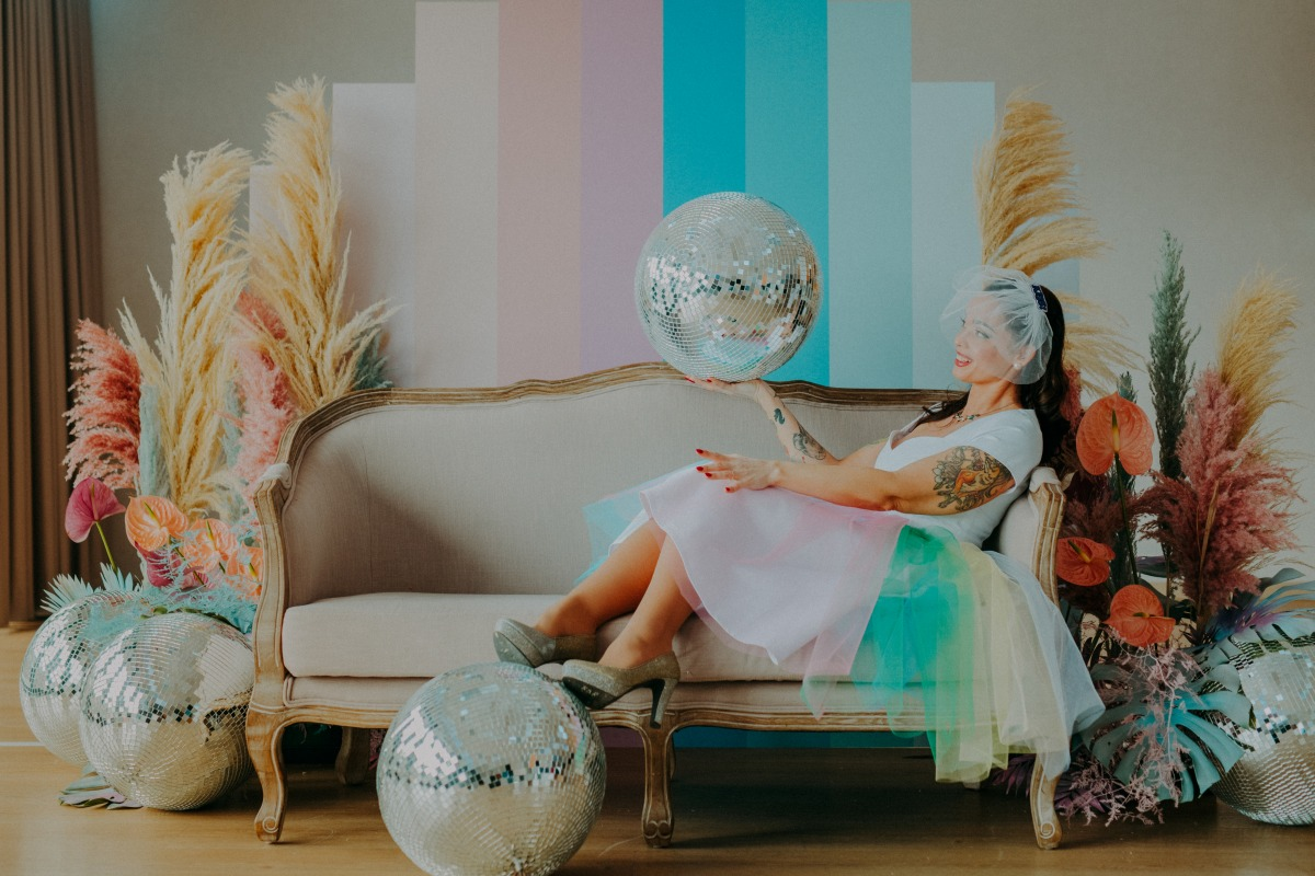 colourful pastel wedding - unconventional wedding - alternative wedding - colourful wedding dress - unique wedding dress - alternative wedding dress - unique retro wedding dress - alternative bridal wear - quirky bridal look