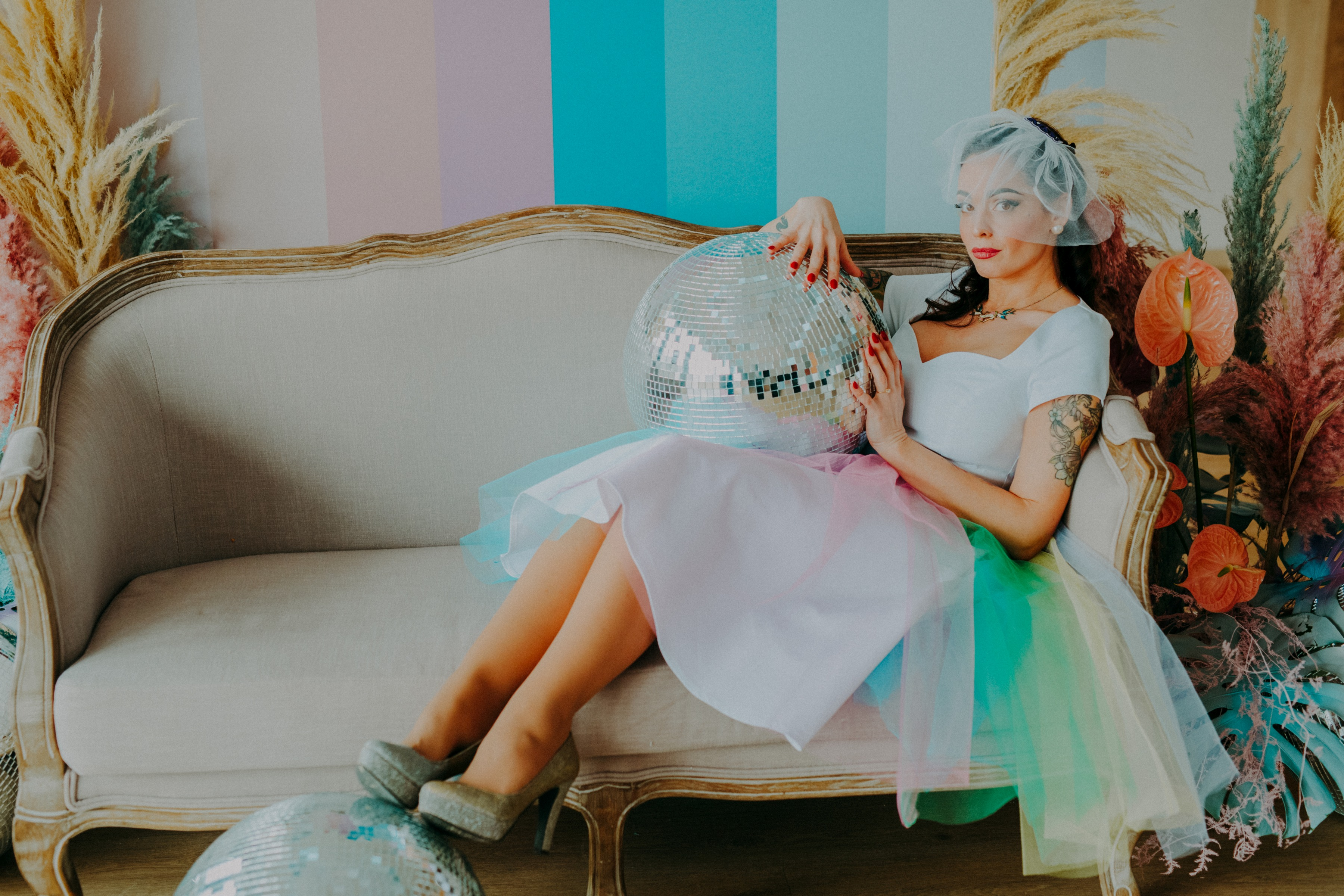 colourful pastel wedding - unconventional wedding - alternative wedding - colourful wedding dress - unique wedding dress - alternative wedding dress - unique retro wedding dress - alternative bridal wear
