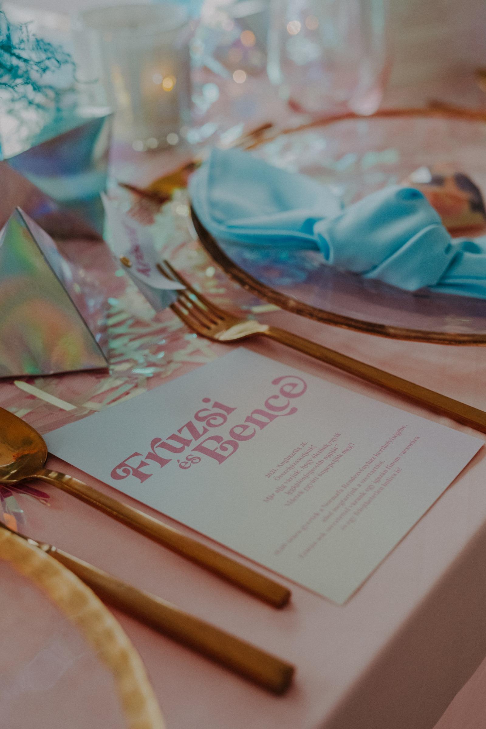 colourful pastel wedding - unconventional wedding - alternative wedding - unique wedding stationery - unique wedding menu