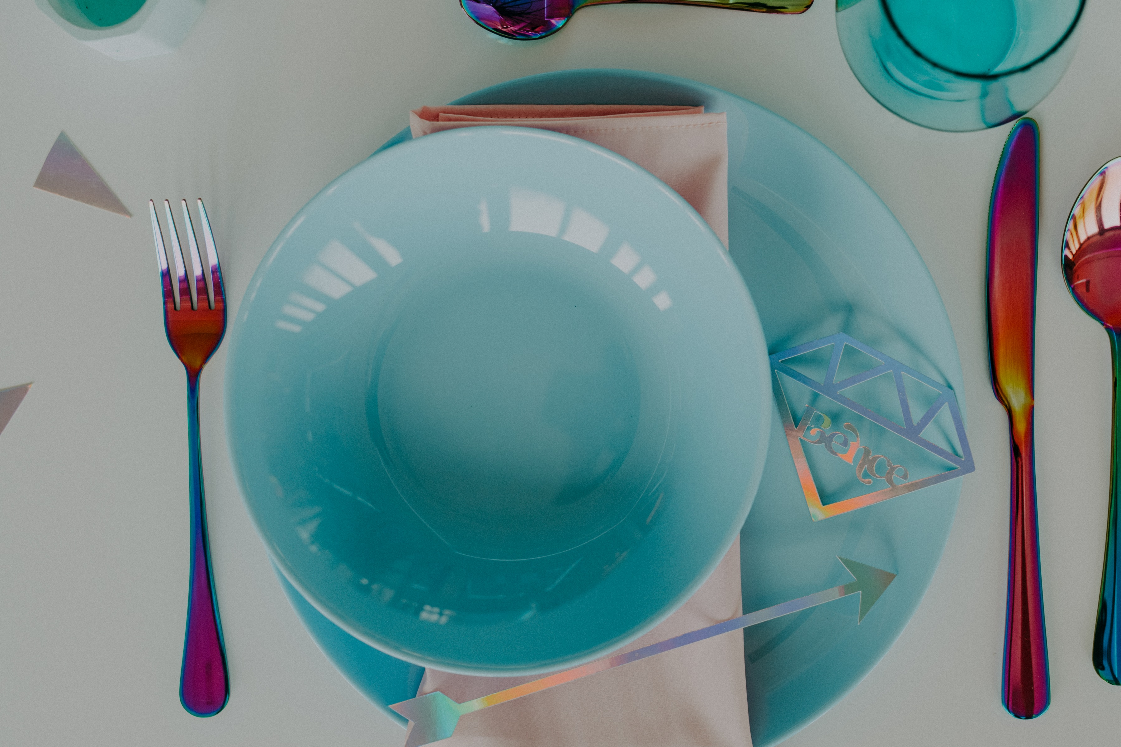 colourful pastel wedding - unconventional wedding - alternative wedding - colourful wedding crockery