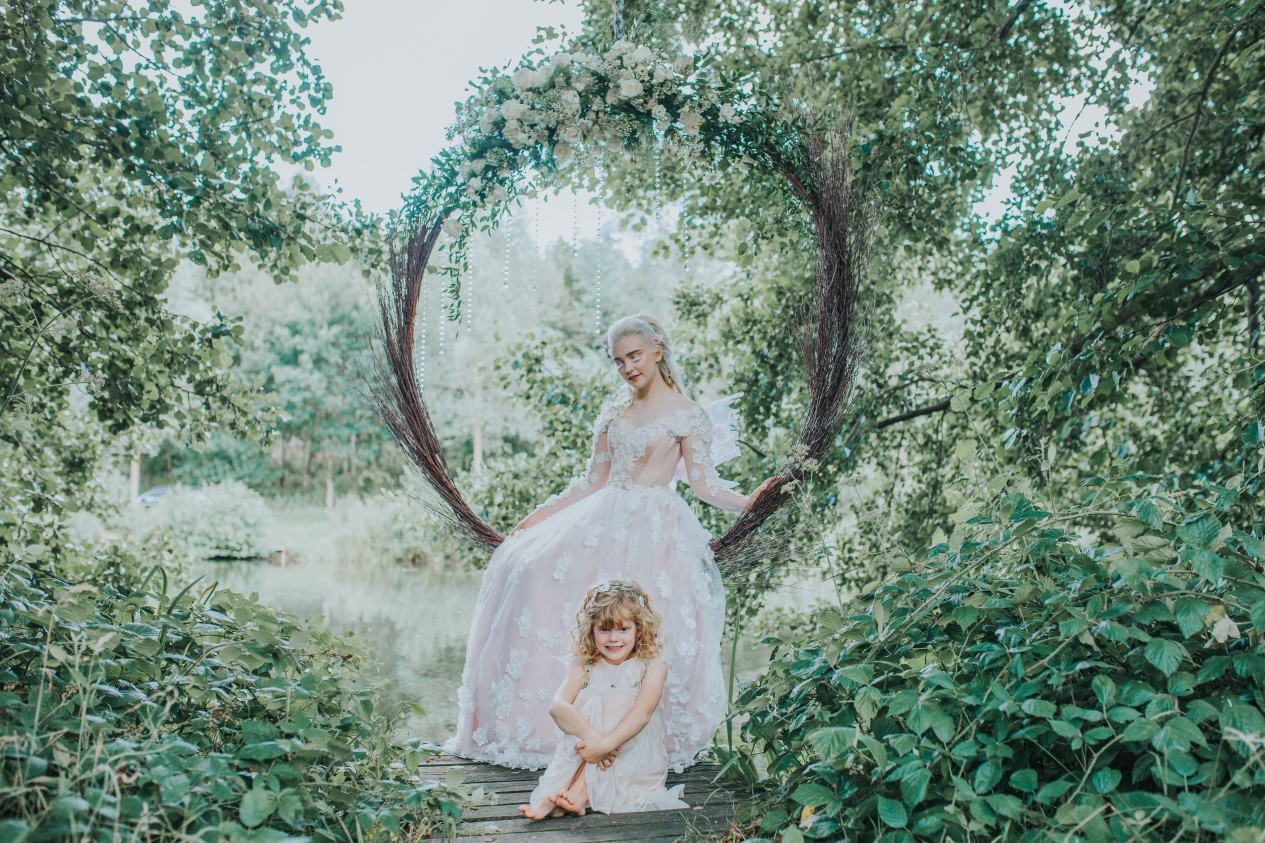 fairy wedding - whimsical wedding - magical wedding - elegant wedding dress - bohemian bridesmaid - wedding willow hoop seat
