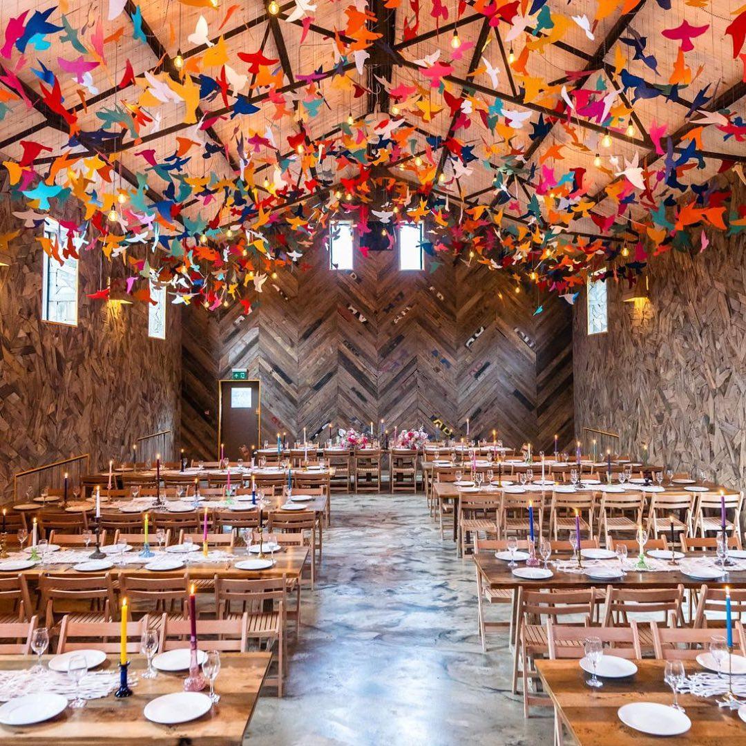 unique wedding decorations - colourful wedding decor - paper wedding decor - the canary shed - essex wedding venue - barn wedding venue - unique wedding venue - alternative wedding venue - blank canvas wedding venue