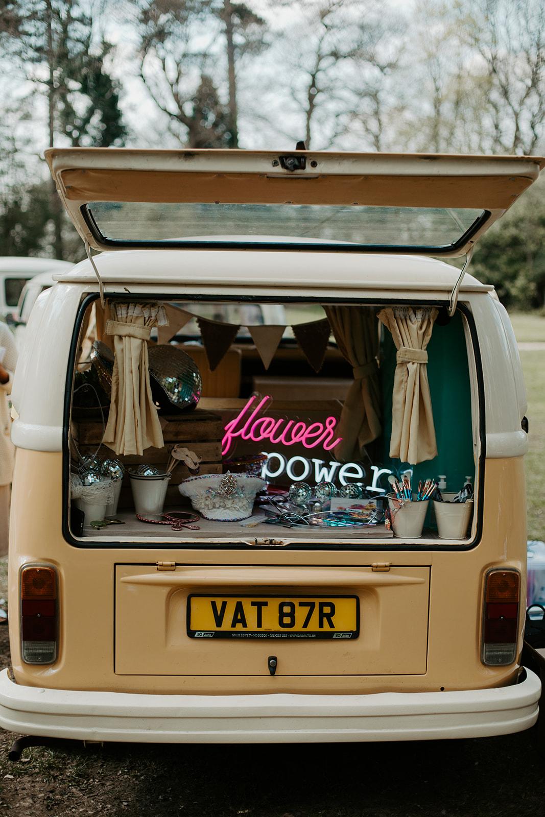 drive in wedding - camper van wedding - camper van photo booth - unique wedding photo booth - wedding glitter bar
