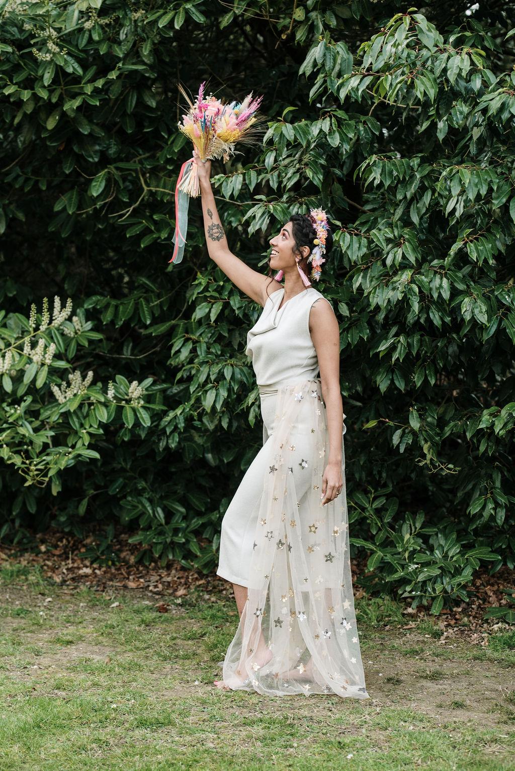 unique bridal wear - bridal jumpsuit - celestial wedding train - festival bride