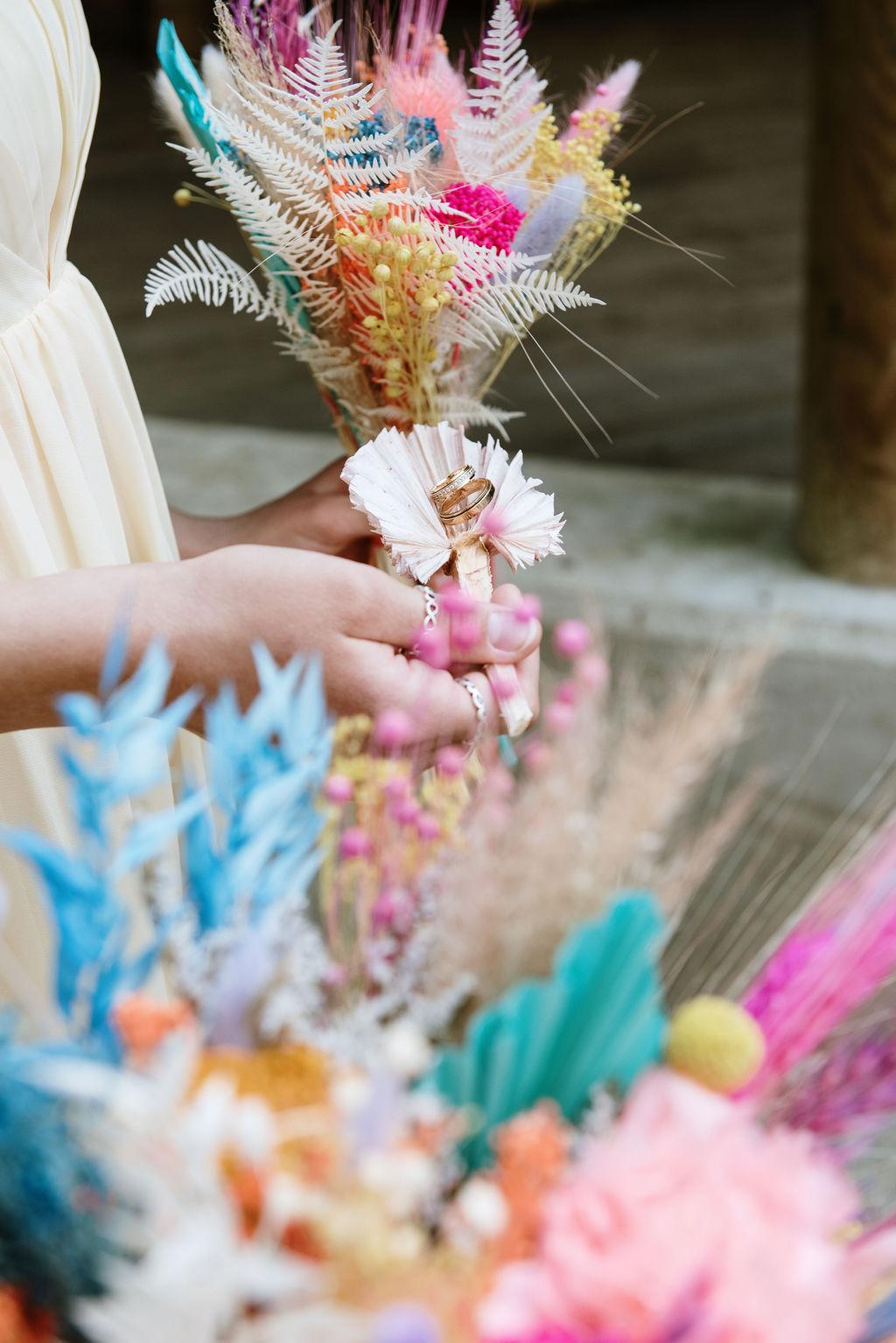 colourful wedding flowers - dried wedding flowers - rainbow wedding flowers
