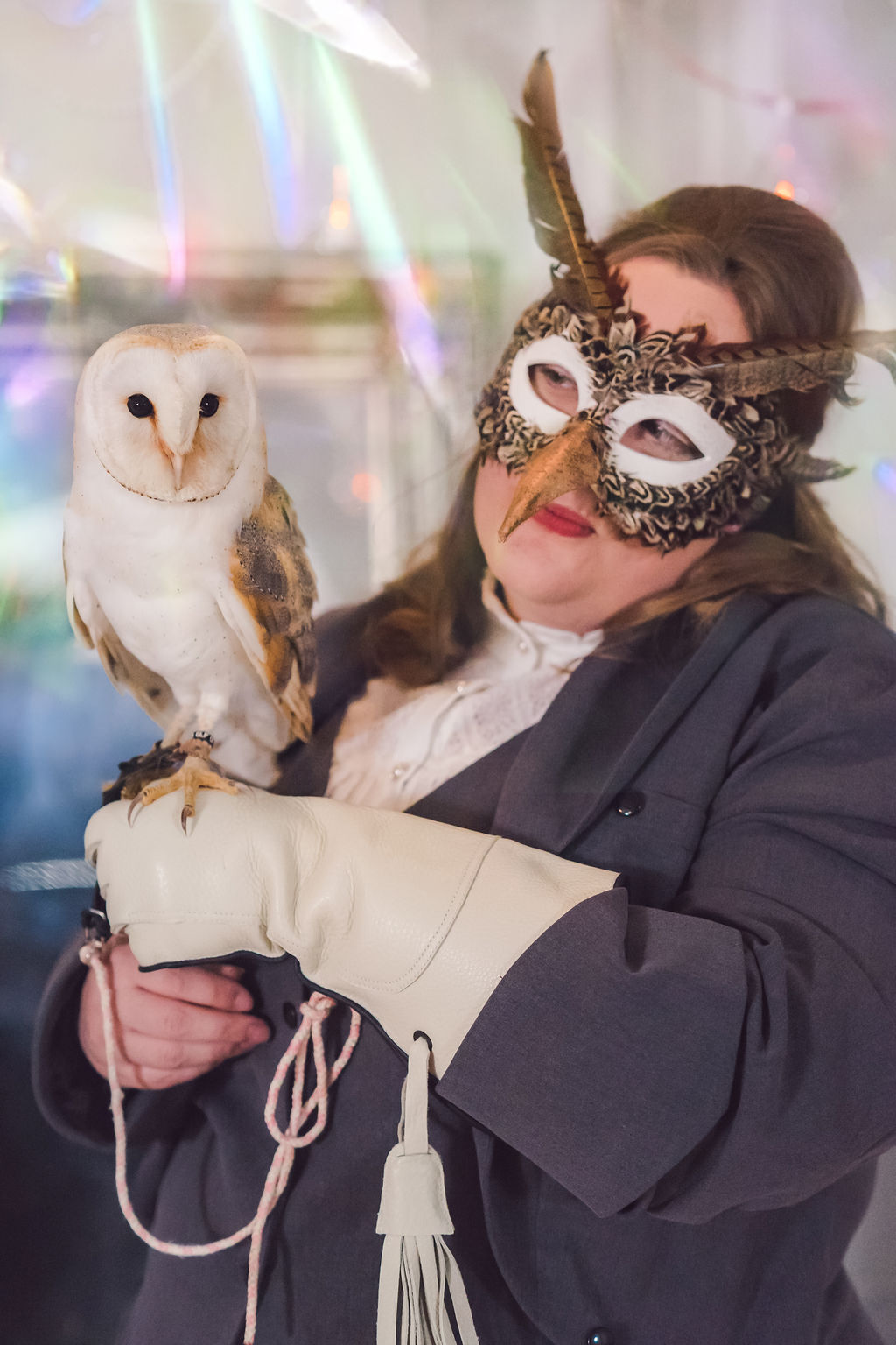 Ceremonies by Leni Robson wearing mask with Owl for alternative & unique wedding ceremonies