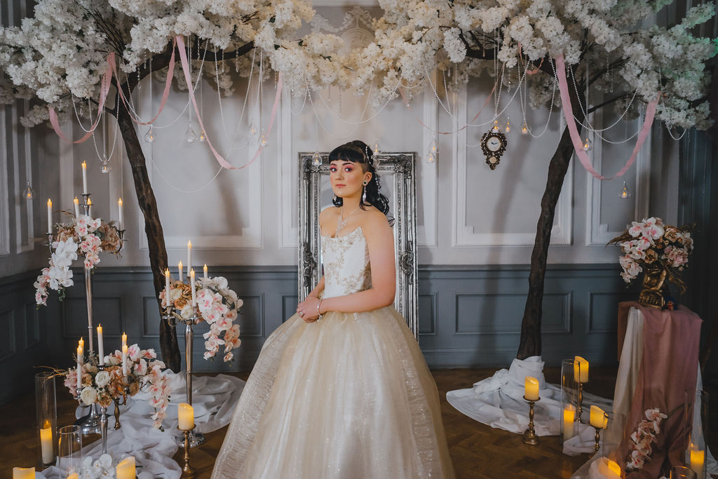 Bride at the altar for a movie themed fairytale wedding day
