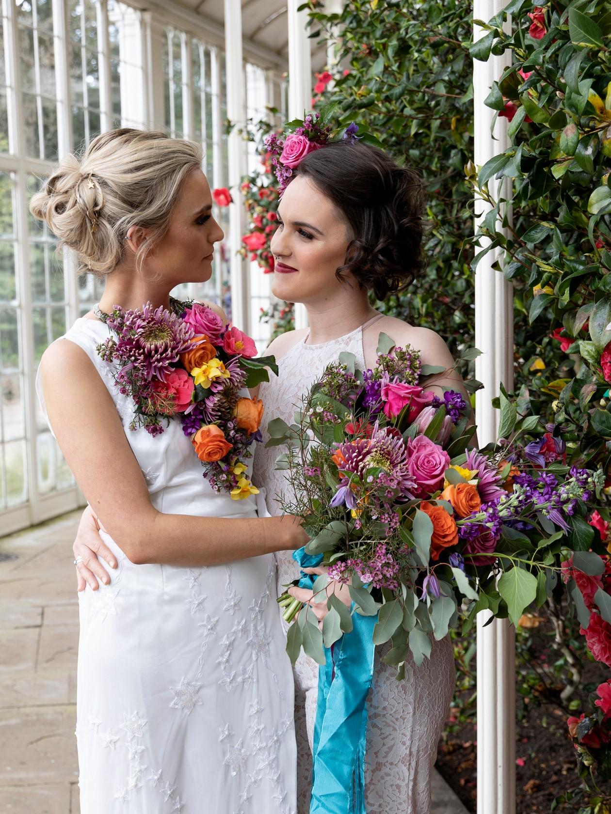 modern boho wedding, unique wedding flowers, rainbow wedding flowers, colourful wedding, bohemian same sex wedding