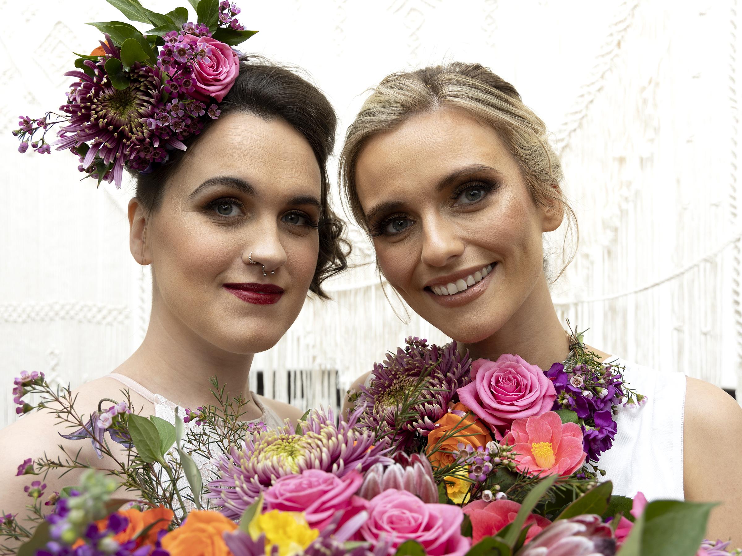 modern boho wedding - wollaton hall - bold wedding flowers - same sex wedding - lesbian wedding - lgbtq wedding - rainbow wedding - colourful wedding - bold wedding flowers