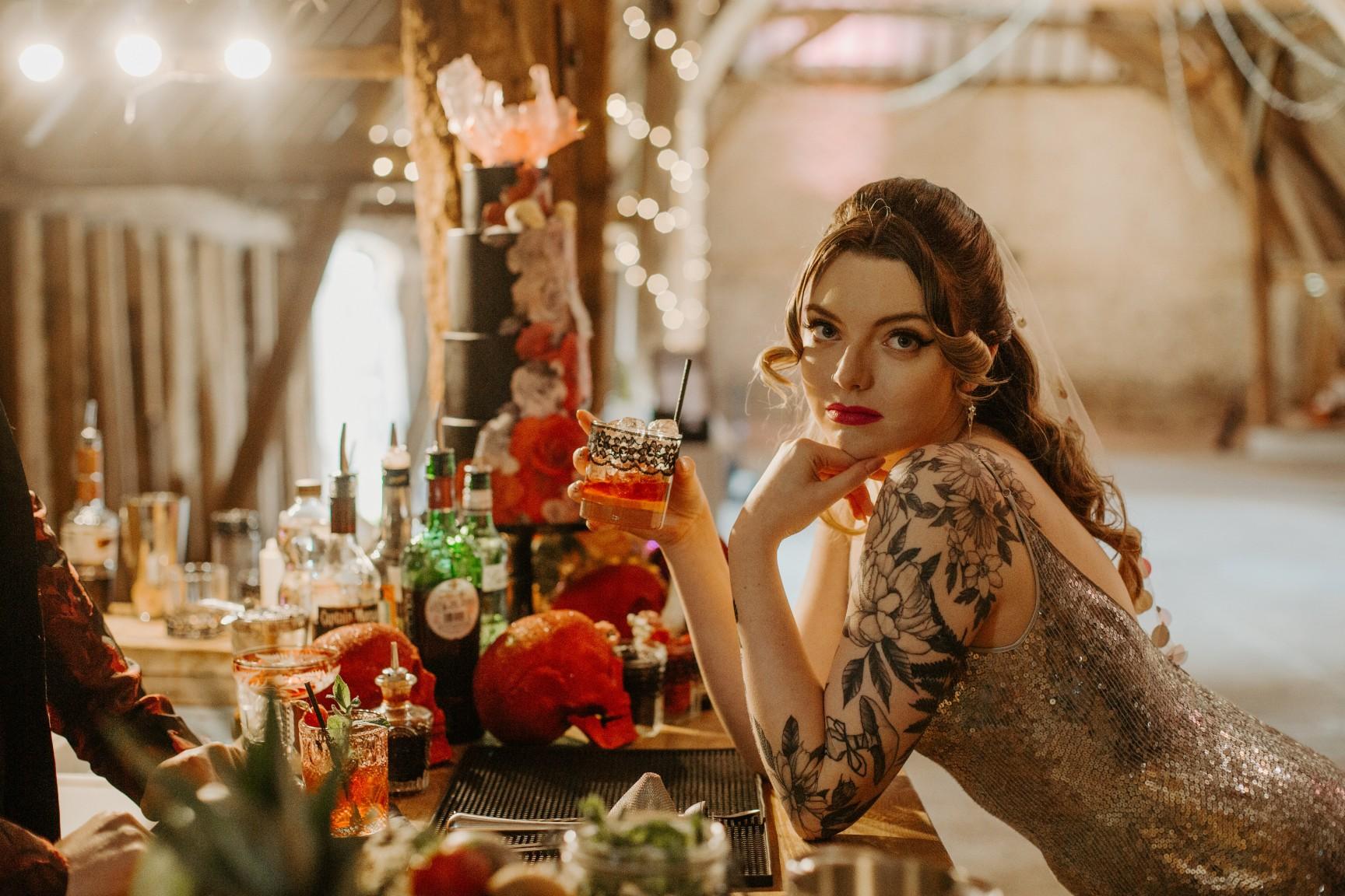 rock and roll wedding - edgy wedding inspiration - edgy bride - alternative bridal wear - unique wedding cocktail bar