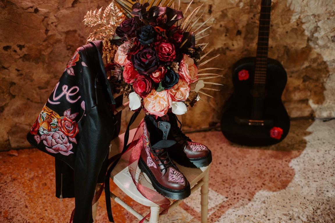 rock and roll wedding - edgy wedding inspiration - gothic wedding accessories - alternative wedding accessories - bridal leather jacket - alternative wedding flowers - wedding doc martens