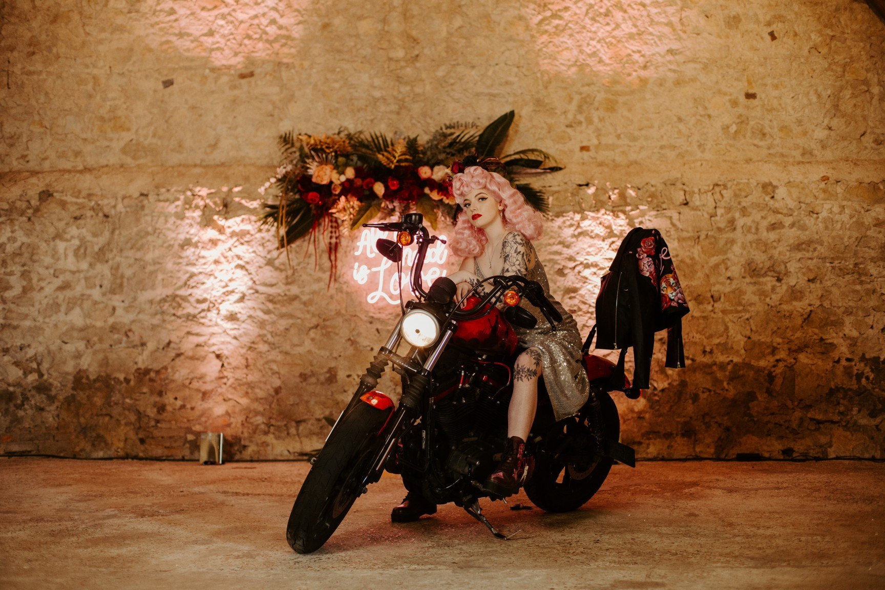 rock and roll wedding - edgy wedding inspiration - bride on motorbike - biker bride - harley davidson wedding - edgy bridal wear