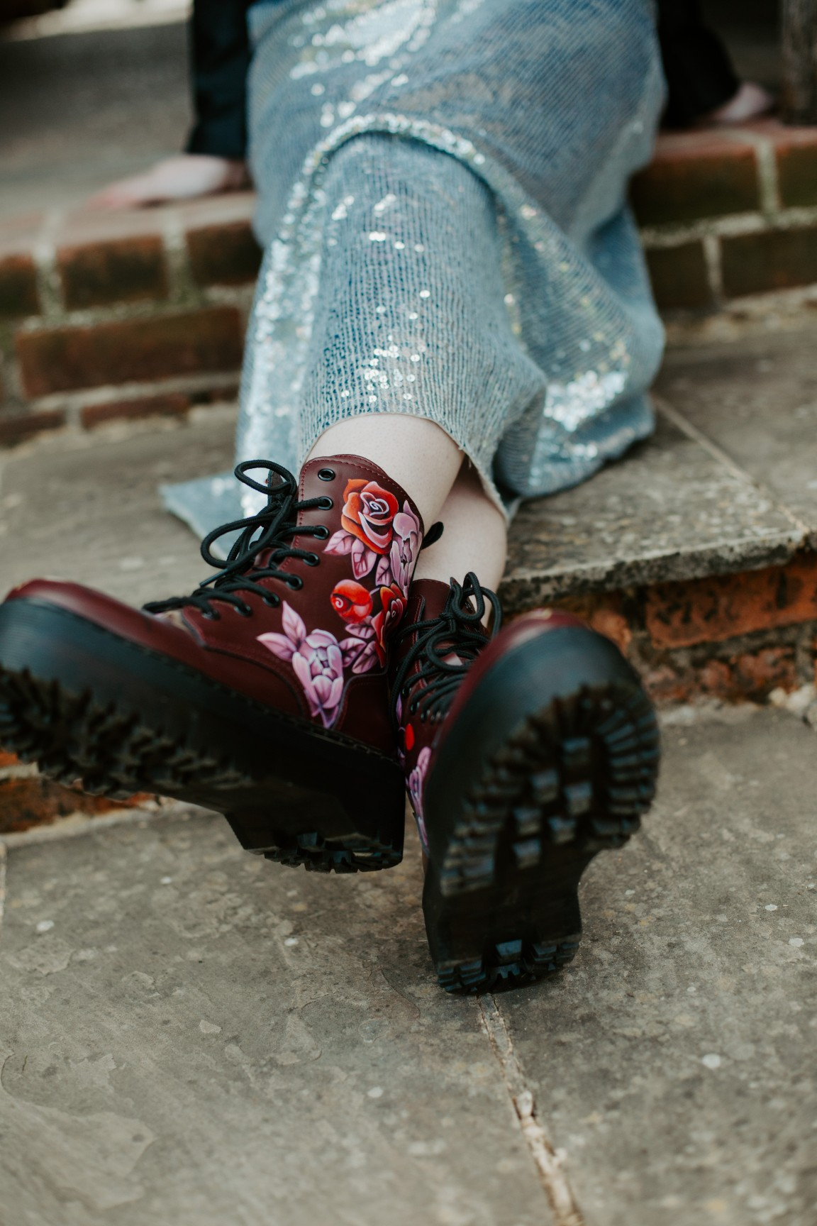 rock and roll wedding - edgy wedding inspiration - hand painted doc martens - wedding hand painted dr martens - unique wedding shoes