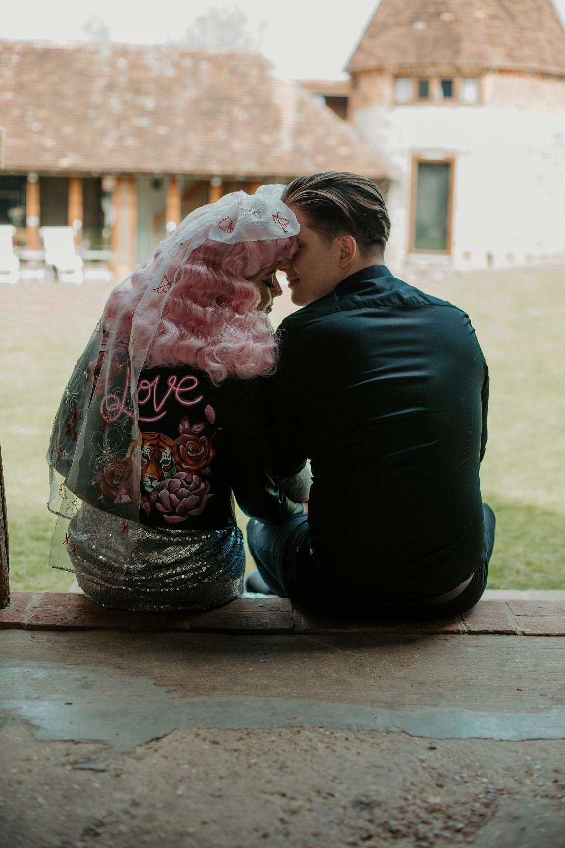 rock and roll wedding - edgy wedding inspiration - bridal hand painted leather jacket - unique bridal veil - alternative bridal wear