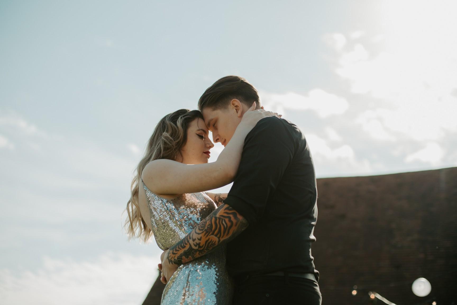 rock and roll wedding - edgy wedding inspiration - sparkly wedding dress - unconventional wedding