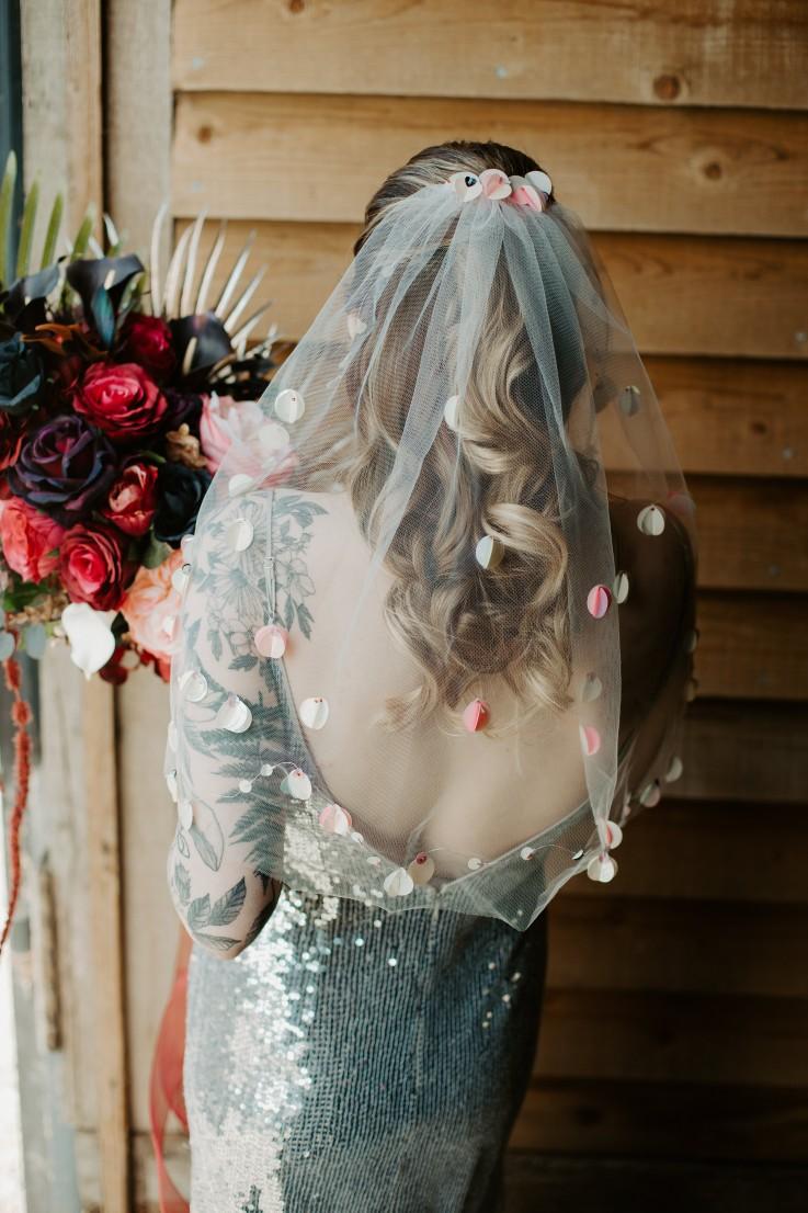 rock and roll wedding - unique wedding veil - alternative wedding veil - sparkly wedding dress - sequin wedding dress
