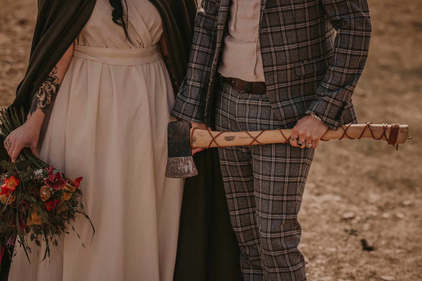 viking wedding - unique wedding wear - bohemian wedding wear - wedding wildflowers