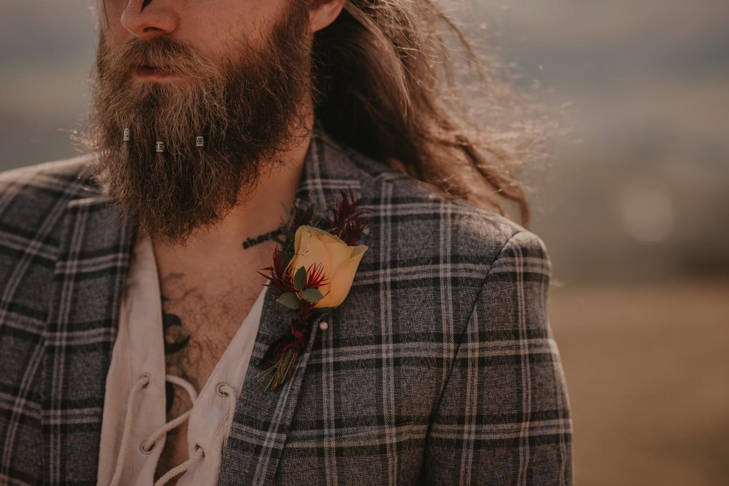 groom with beard beads - viking wedding - viking groom - alternative grooms wear - grooms accessories