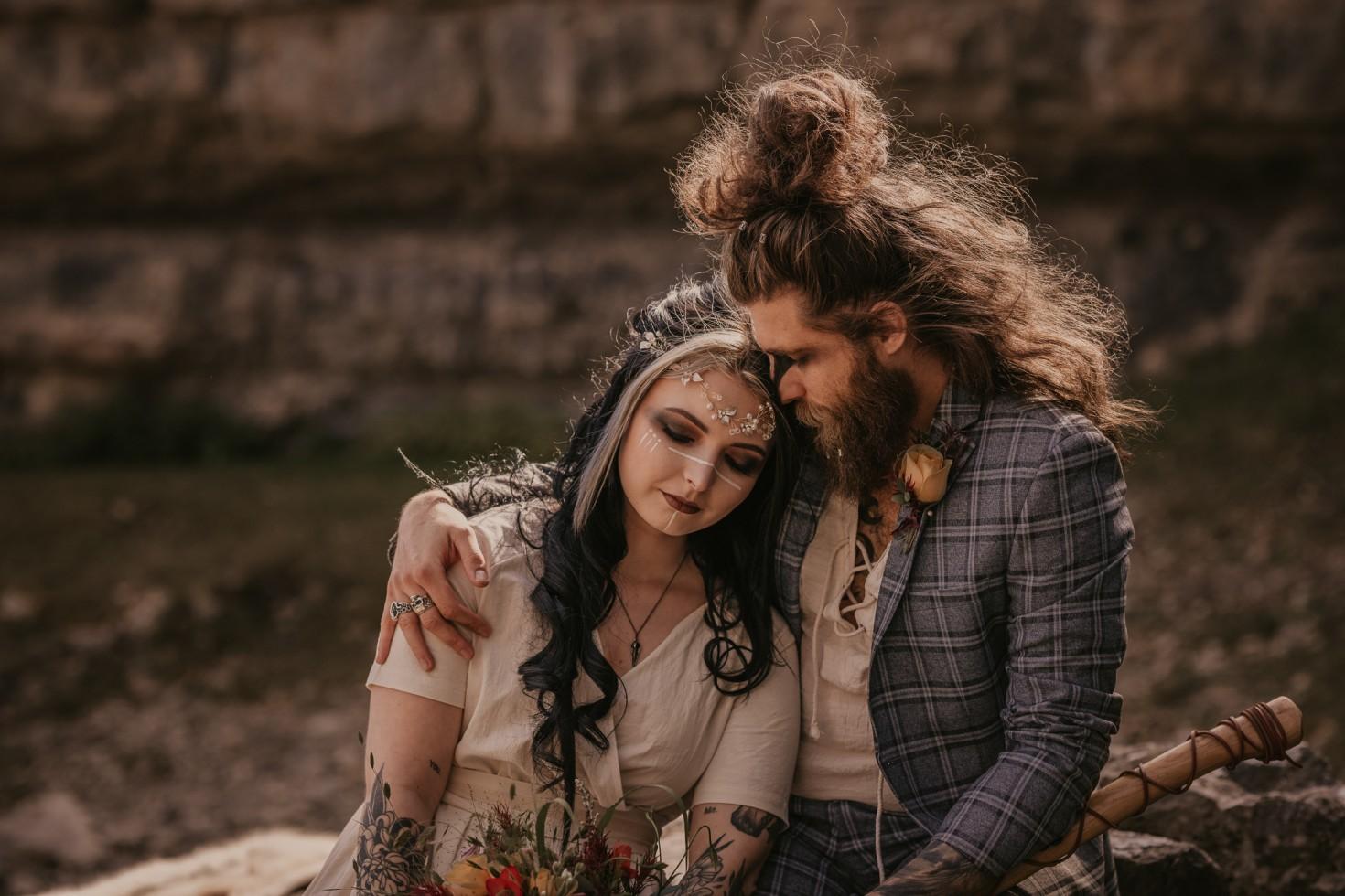 viking wedding - free spirited wedding - alternative wedding couple