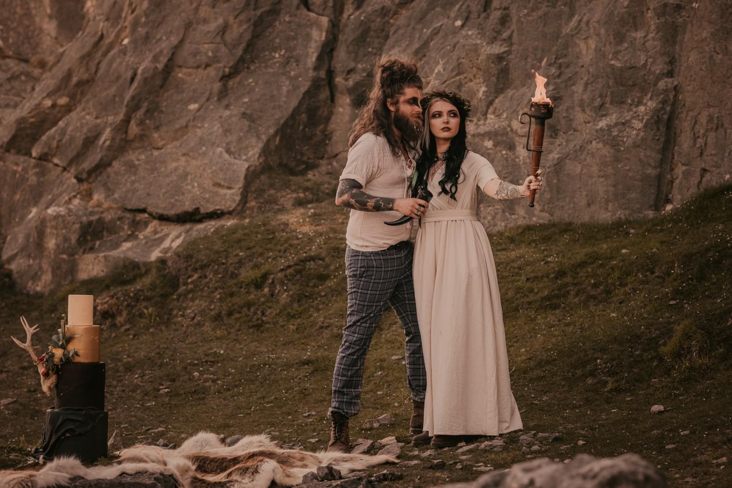 viking wedding - wild wedding - alternative wedding styling - viking elopement - bohemian micro wedding - edgy outdoor wedding