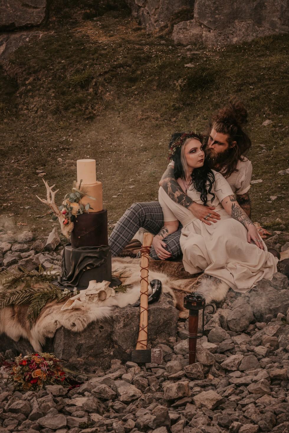 viking wedding - wild wedding - outdoor elopement - alternative wedding styling - alternative bride and groom - alternative wedding cake - skull wedding cake