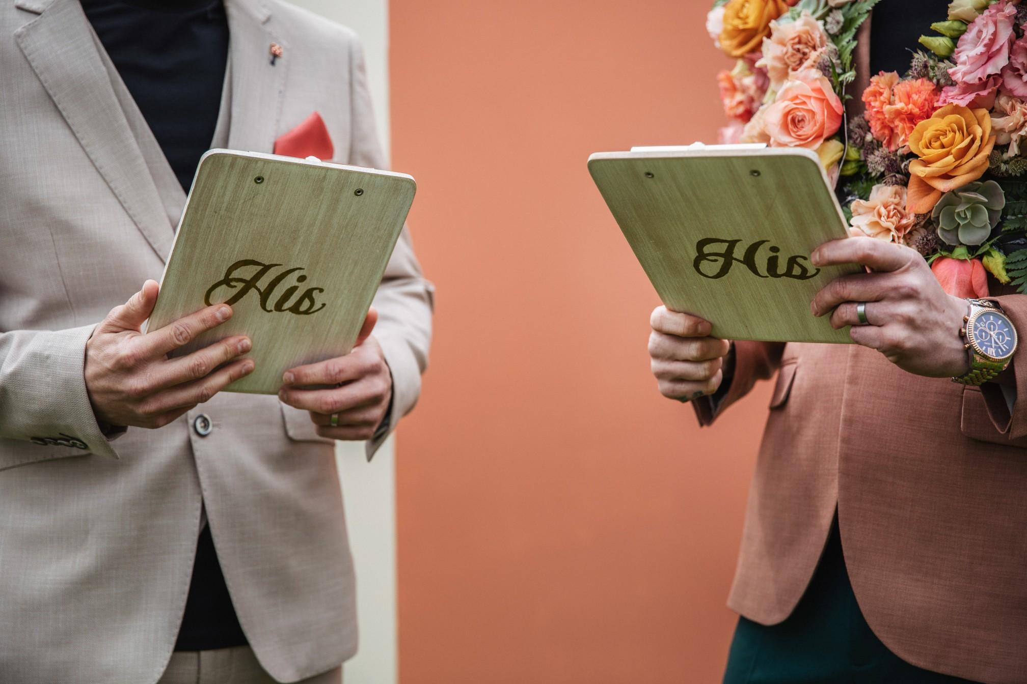 his & his vows - vow books - celebrant wedding ceremony
