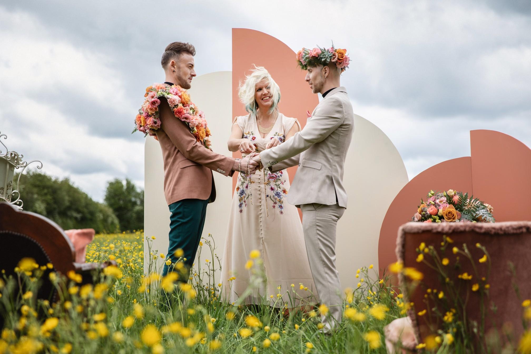 bohemian wedding ceremony - hand fasting wedding ceremony - unique wedding ceremony - wedding ceremony backdrop - gay wedding ideas