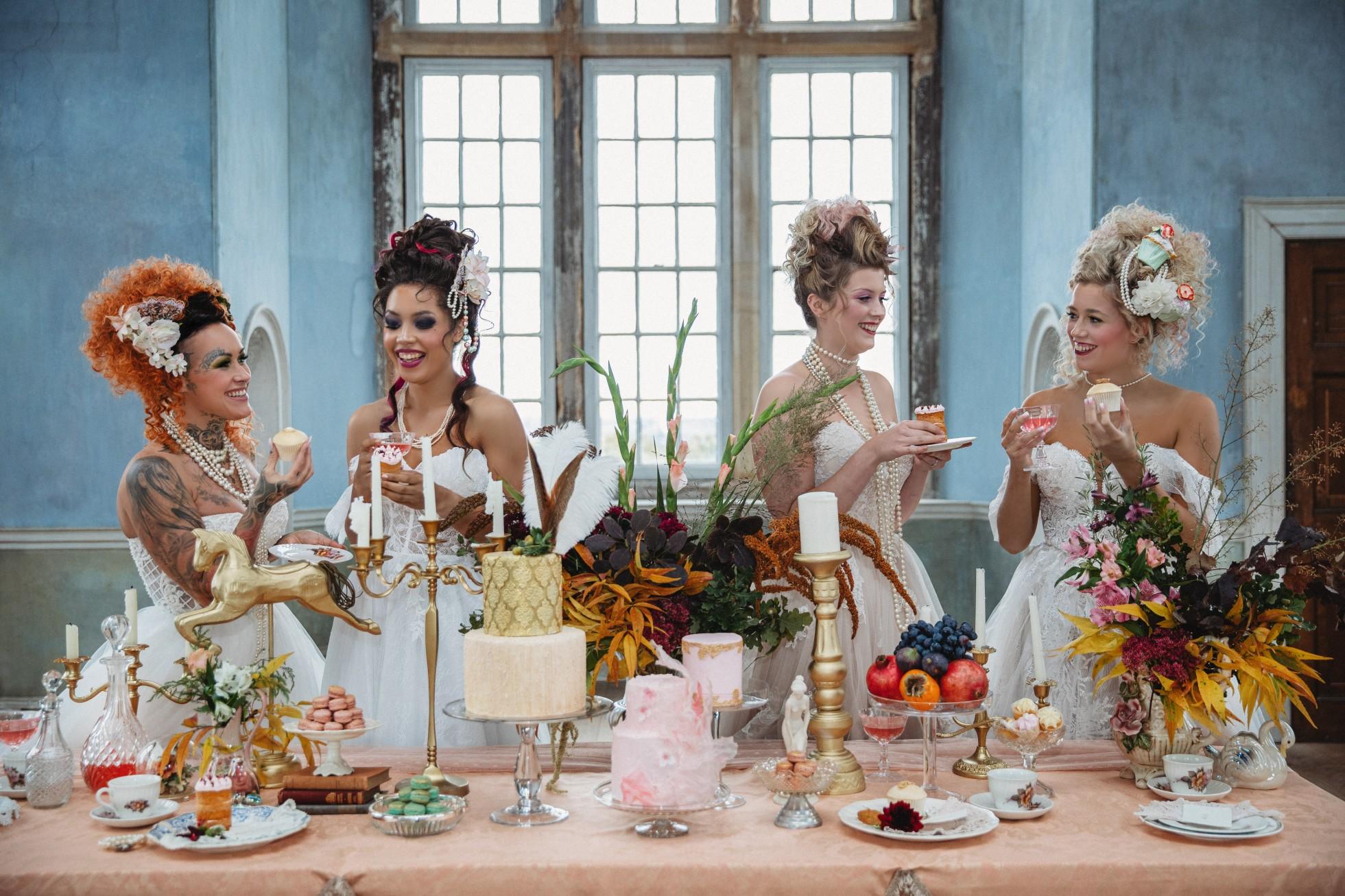 unique pastel wedding - marie antionette wedding - unique bridal look - unique bridal style - themed wedding - wedding dessert table - quirky wedding ideas - fun wedding ideas