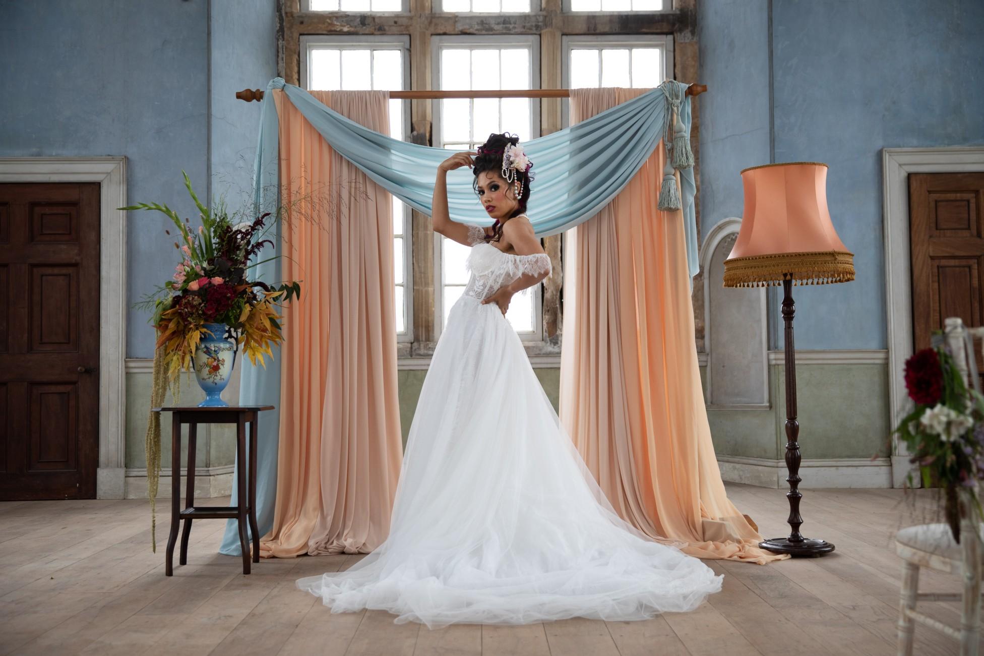 unique pastel wedding - marie antionette wedding - unique bridal look - unique bridal style - themed wedding - unique bride style