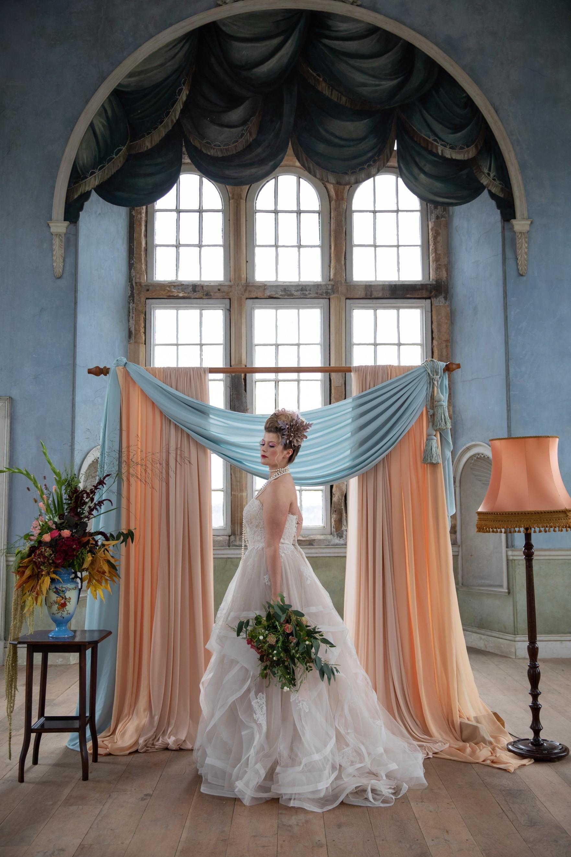 unique pastel wedding - marie antionette wedding - unique bridal look - unique bridal style - themed wedding - wollaton hall